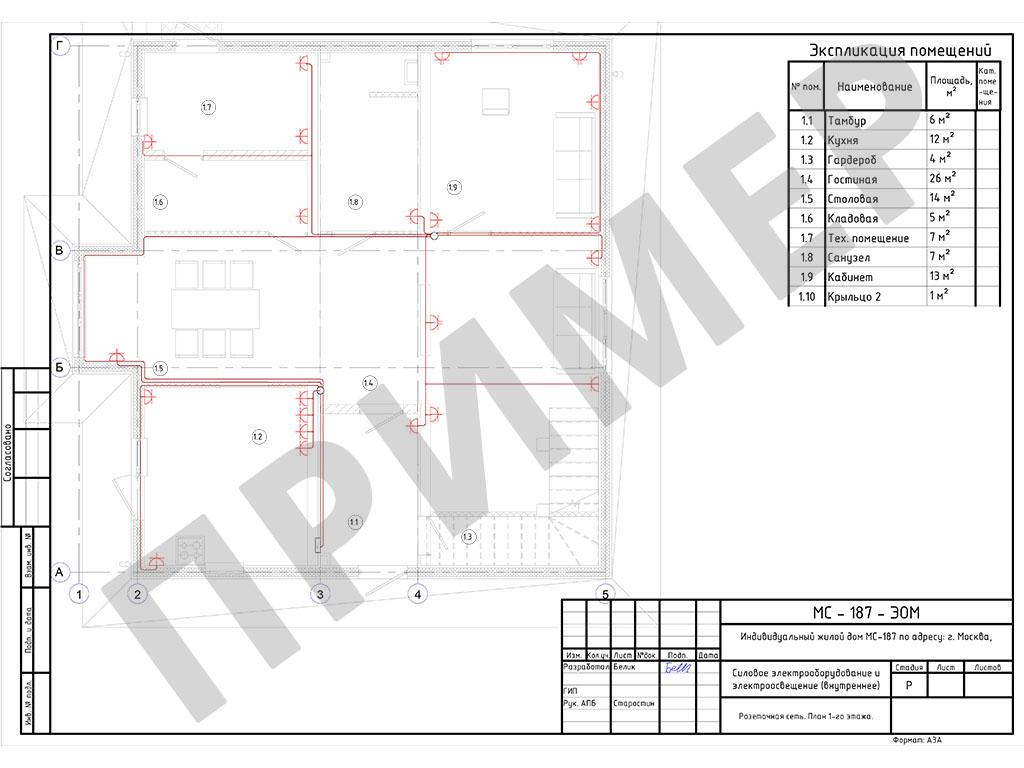 План розеточной сети для каждого этажа
