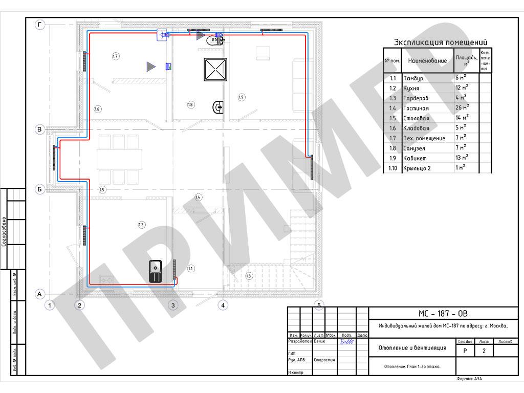 Схема отопления и вентиляции для каждого этажа