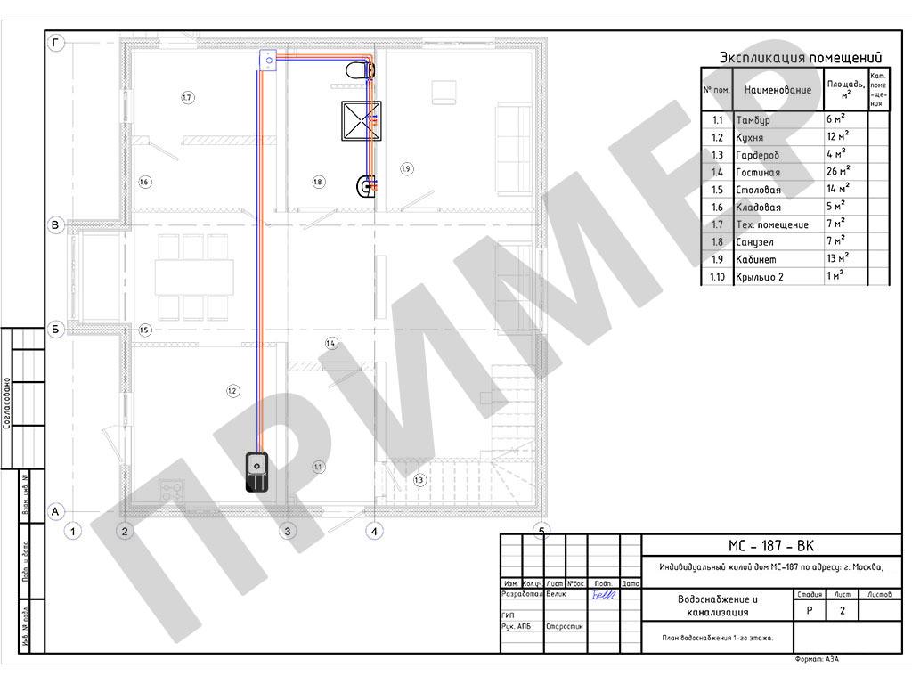 План водоснабжения для каждого этажа