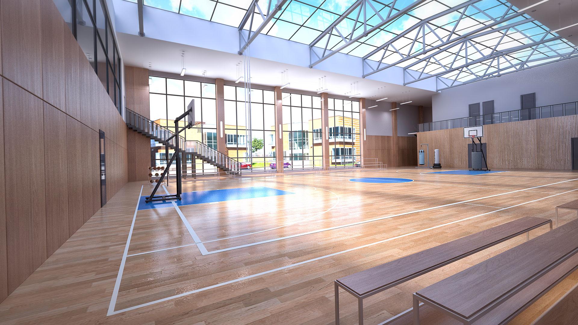 Внутренняя отделка спортивного комплекса.