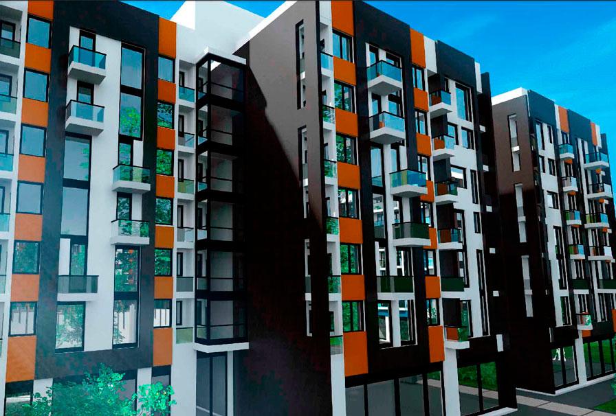 Среднеэтажная жилая модель отдельный дом