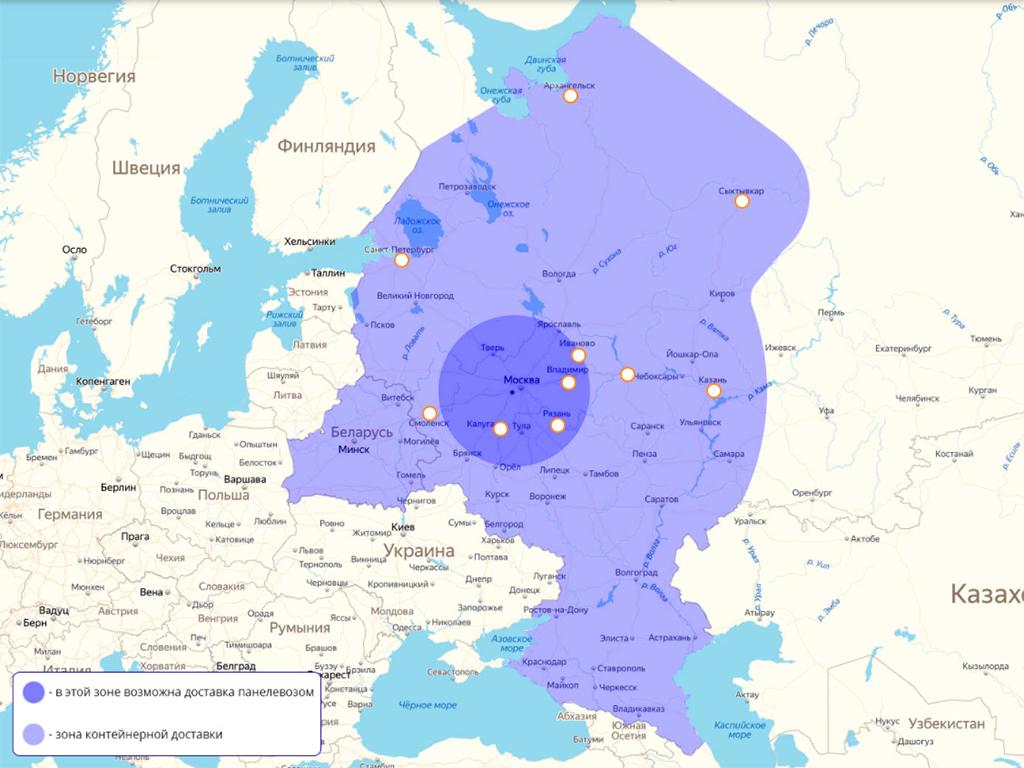 карта доставки и авторизованных строительных компаний БЭНПАН