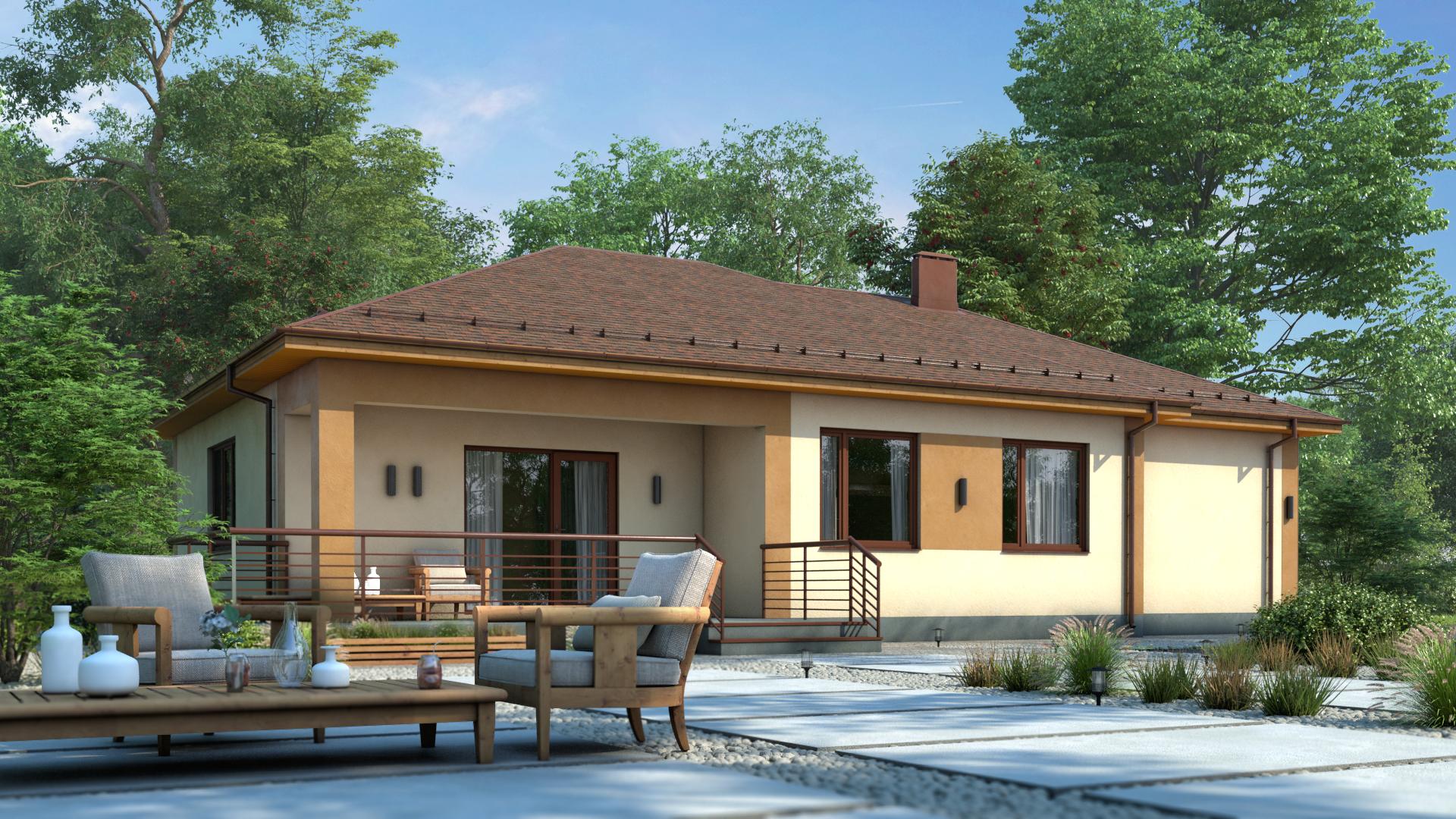 МС-162-2 одноэтажный дом с гаражом