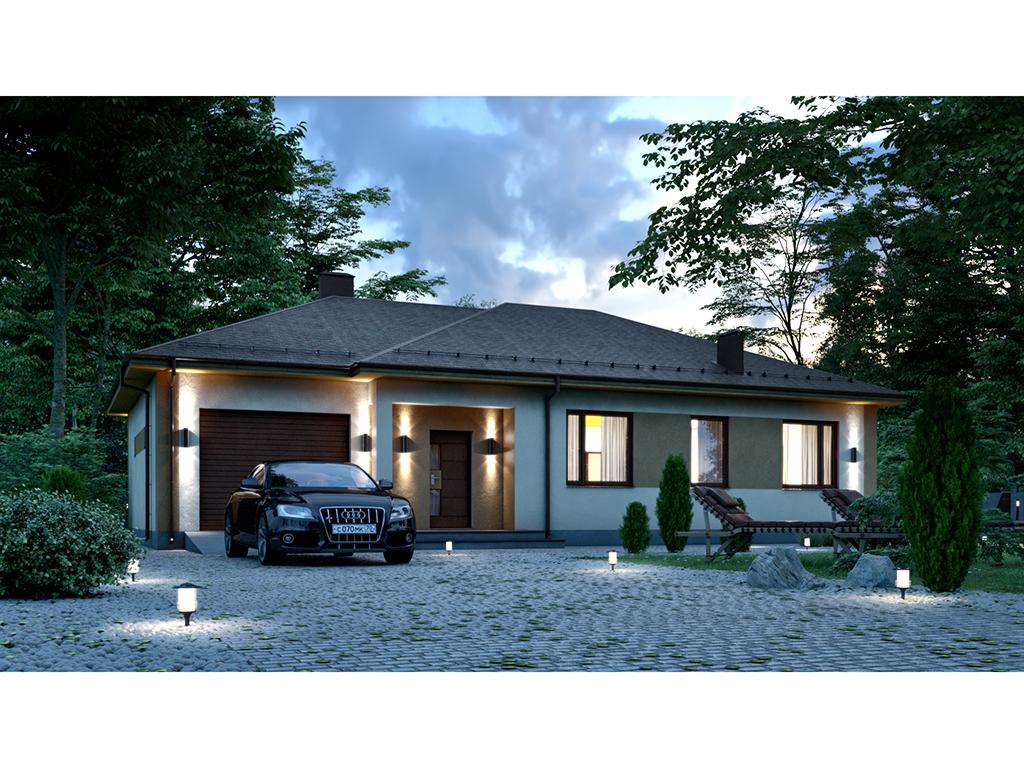 МС-162-2 просторный одноэтажный дом с гаражом на один автомобиль