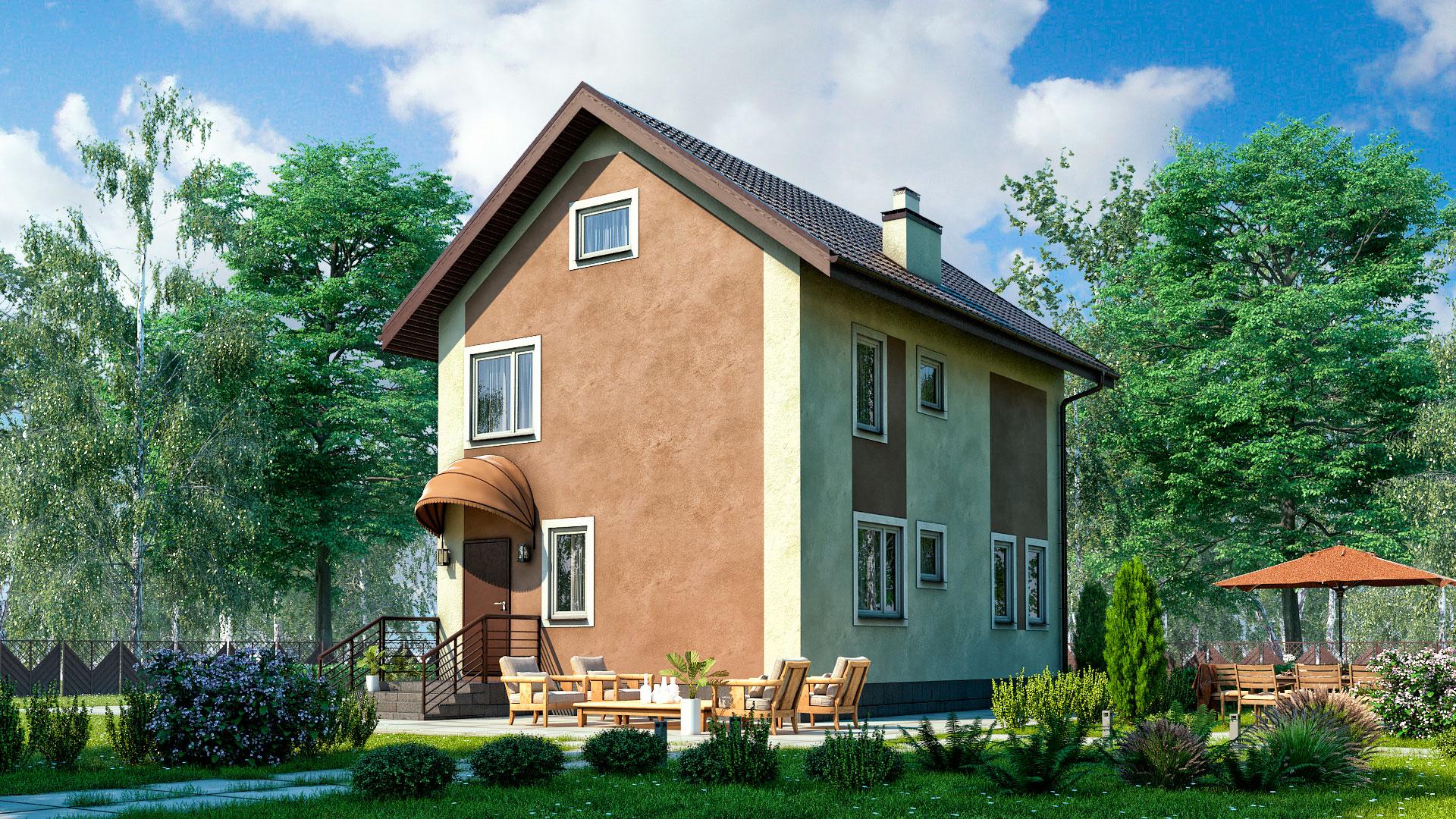 Передний фасад дома 6х9 двухэтажного, 105 м2. Проект БП-107/1.