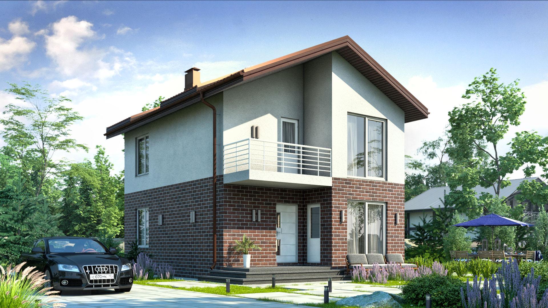 Передний фасад дома 6х9 двухэтажного, 89 м2. Проект БП-107.