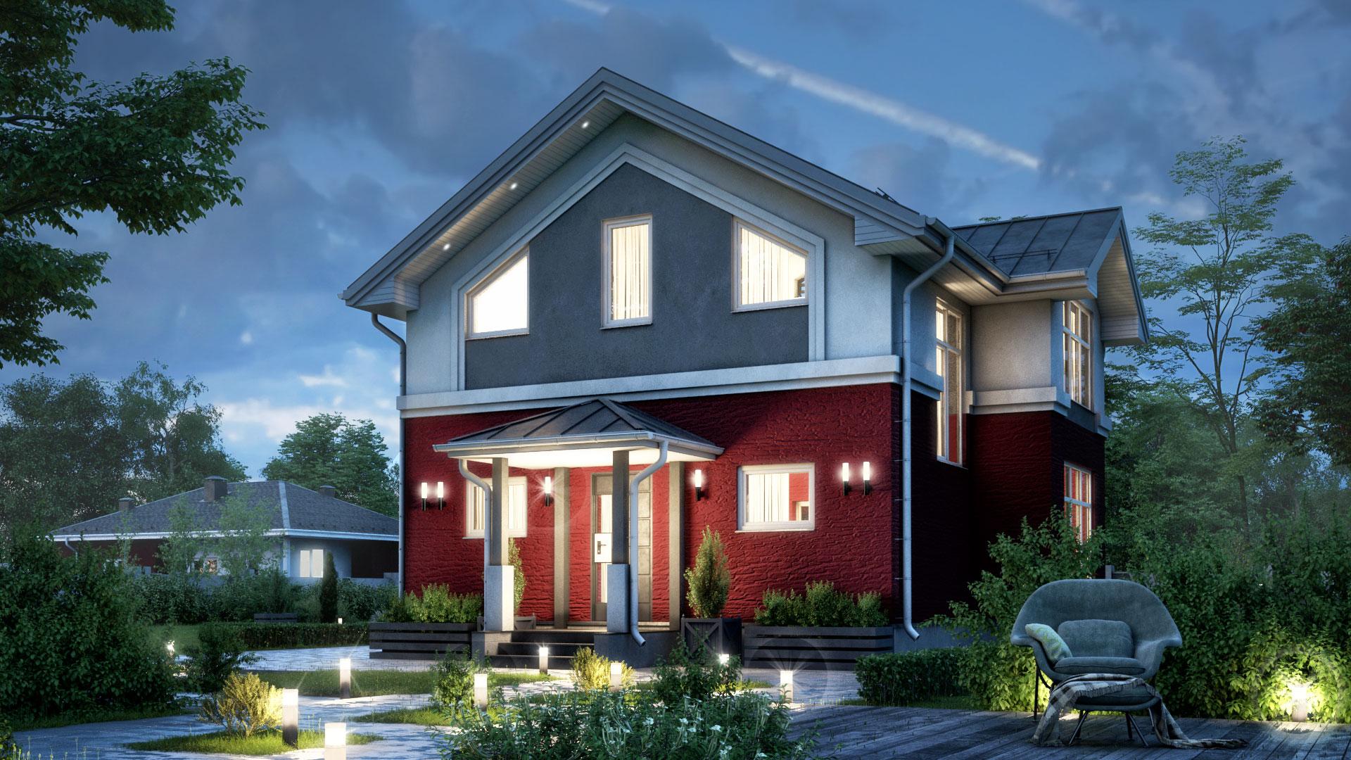 Вечернее фото проекта двухэтажного дома БЭНПАН, проект БП-112.