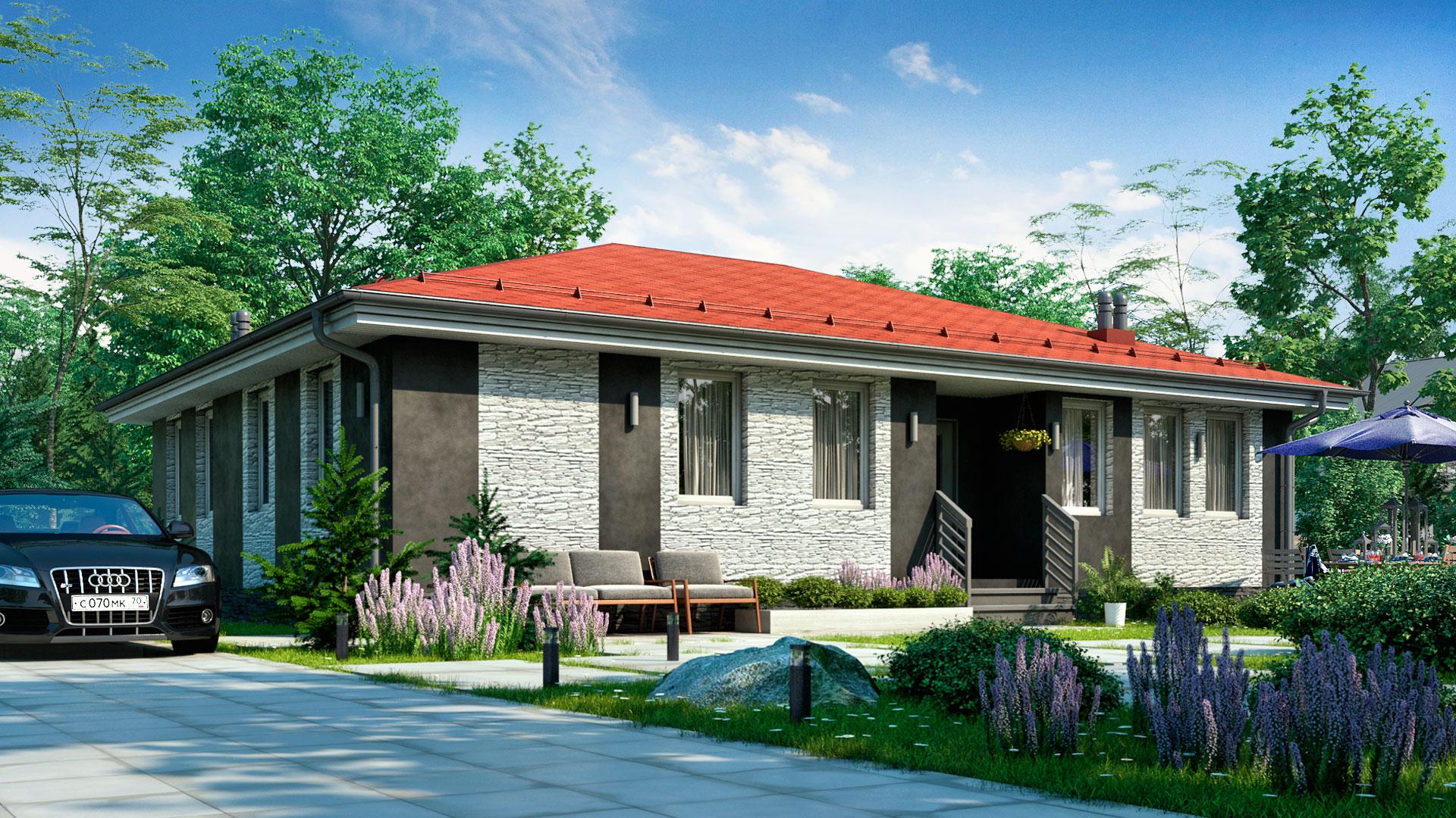 Передний фасад одноэтажного дачного дома БЭНПАН. Проект БП-127.