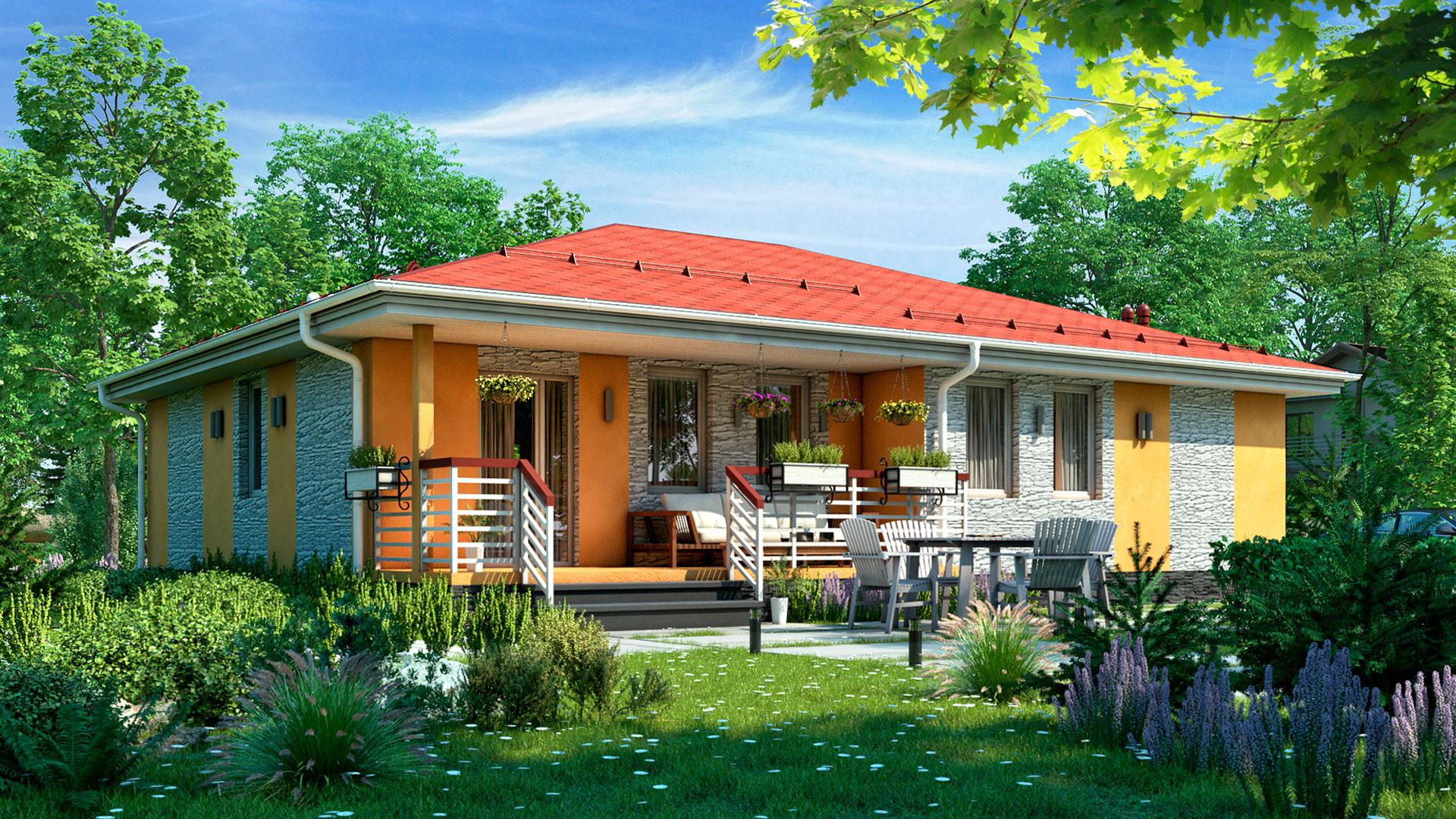 Сад одноэтажных домов фото