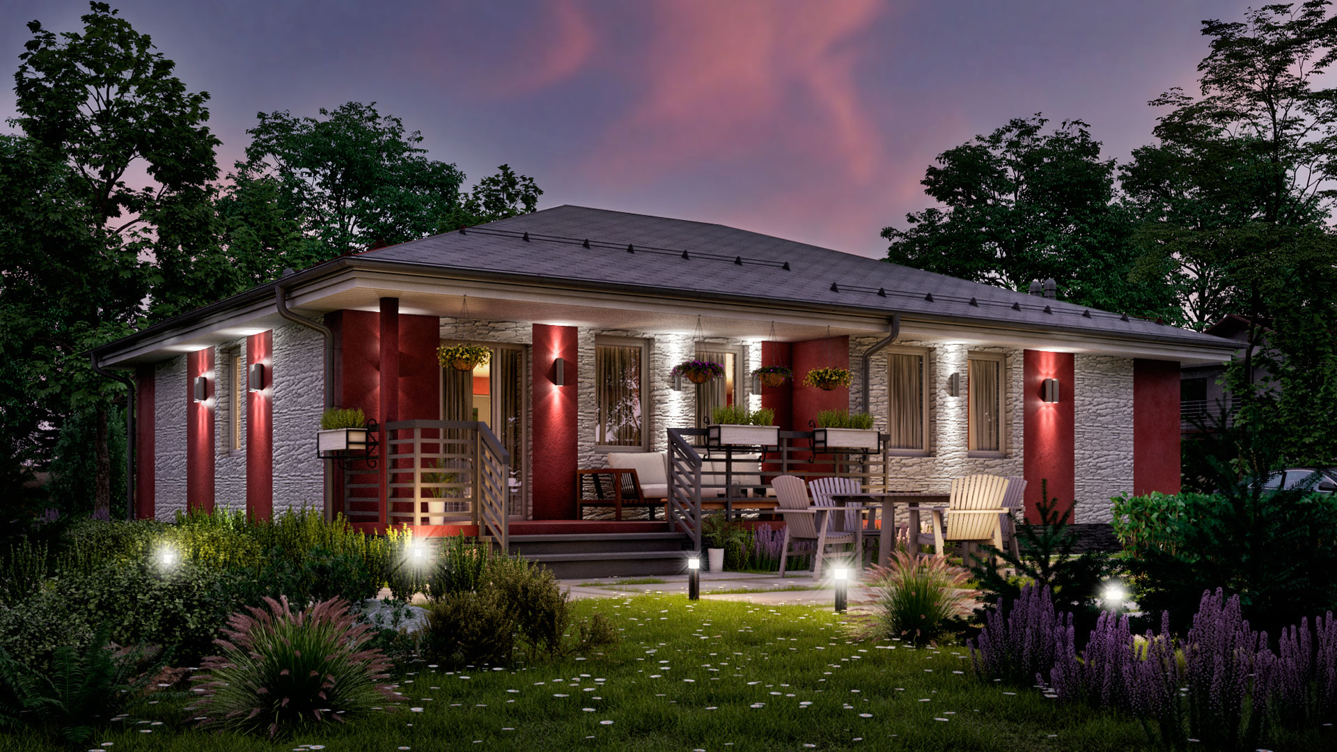 Вечернее фото дачного дома БЭНПАН. Проект БП-127.