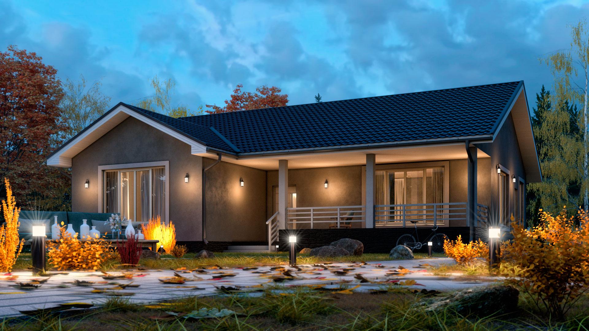 Вечернее фото одноэтажного загородного дома БЭНПАН БП-142.