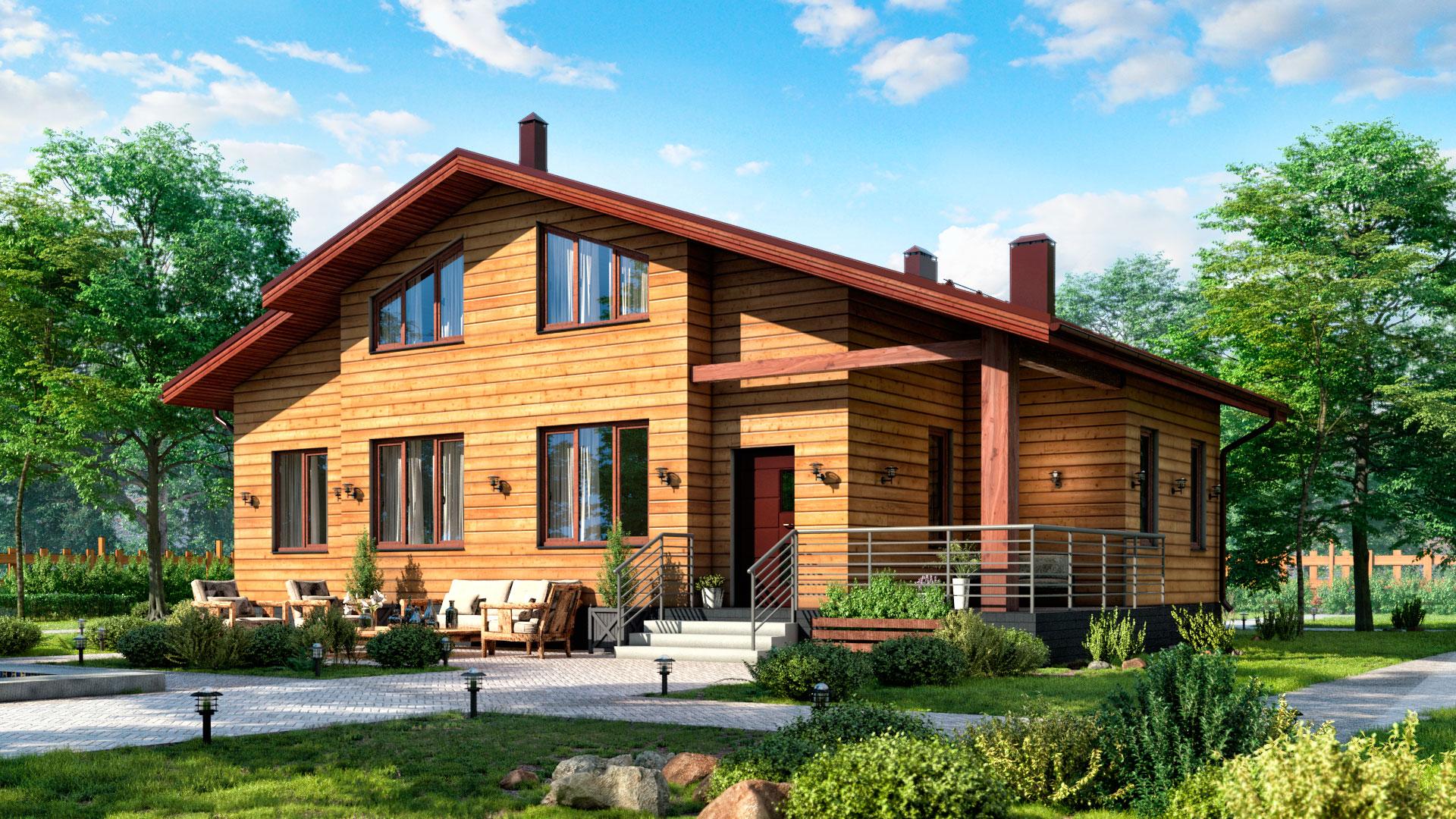 Передний фасад двухэтажного дачного дома проект БП-143 127,70 м2.