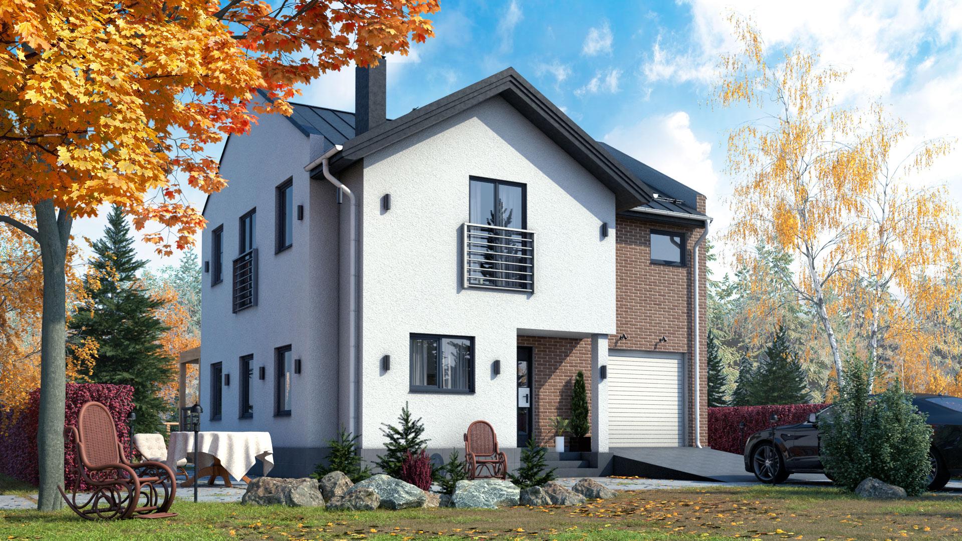 Передний фасад дома 9 на 9 м., двухэтажного, 118,4 м2. Проект БП-158.