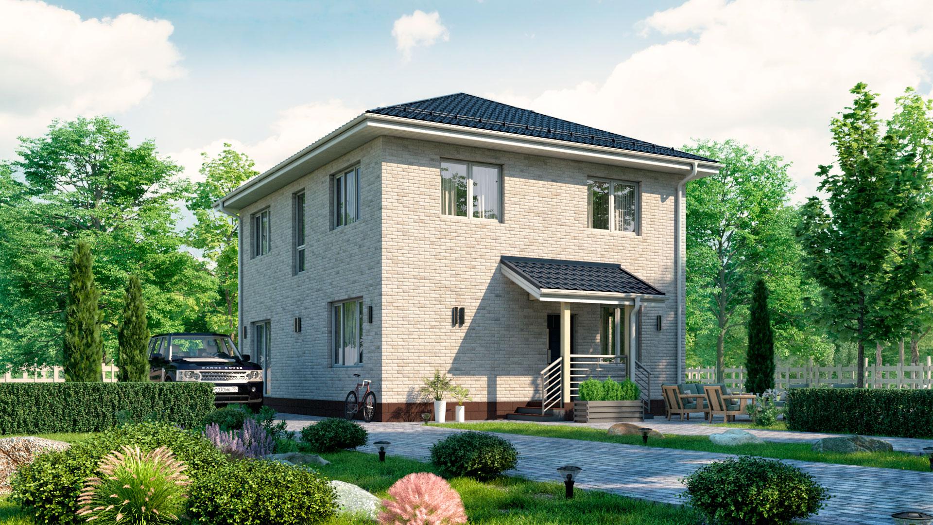 Фасад дома 10 на 8 метров двухэтажного. Проект БЭНПАН БП-160/1.