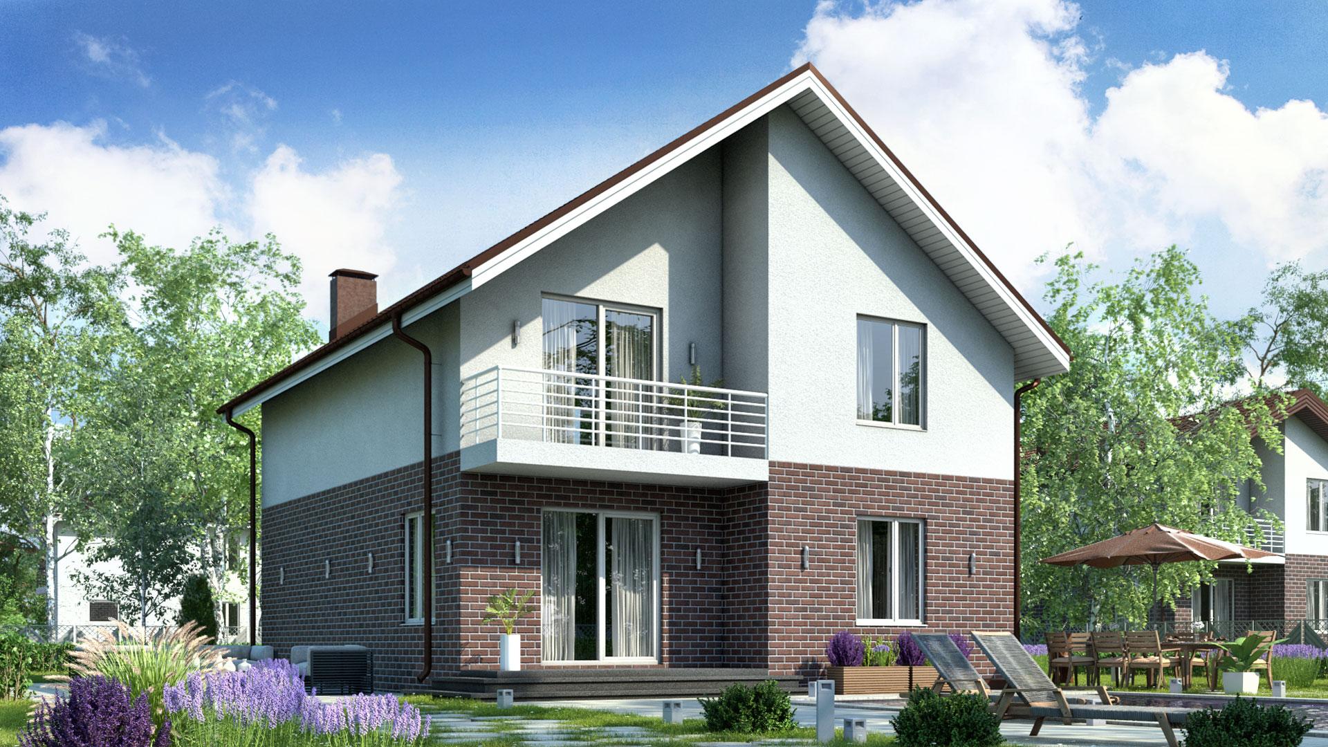 Передний фасад двухэтажного дома БЭНПАН, проект БП-161, двухцветная отделка.