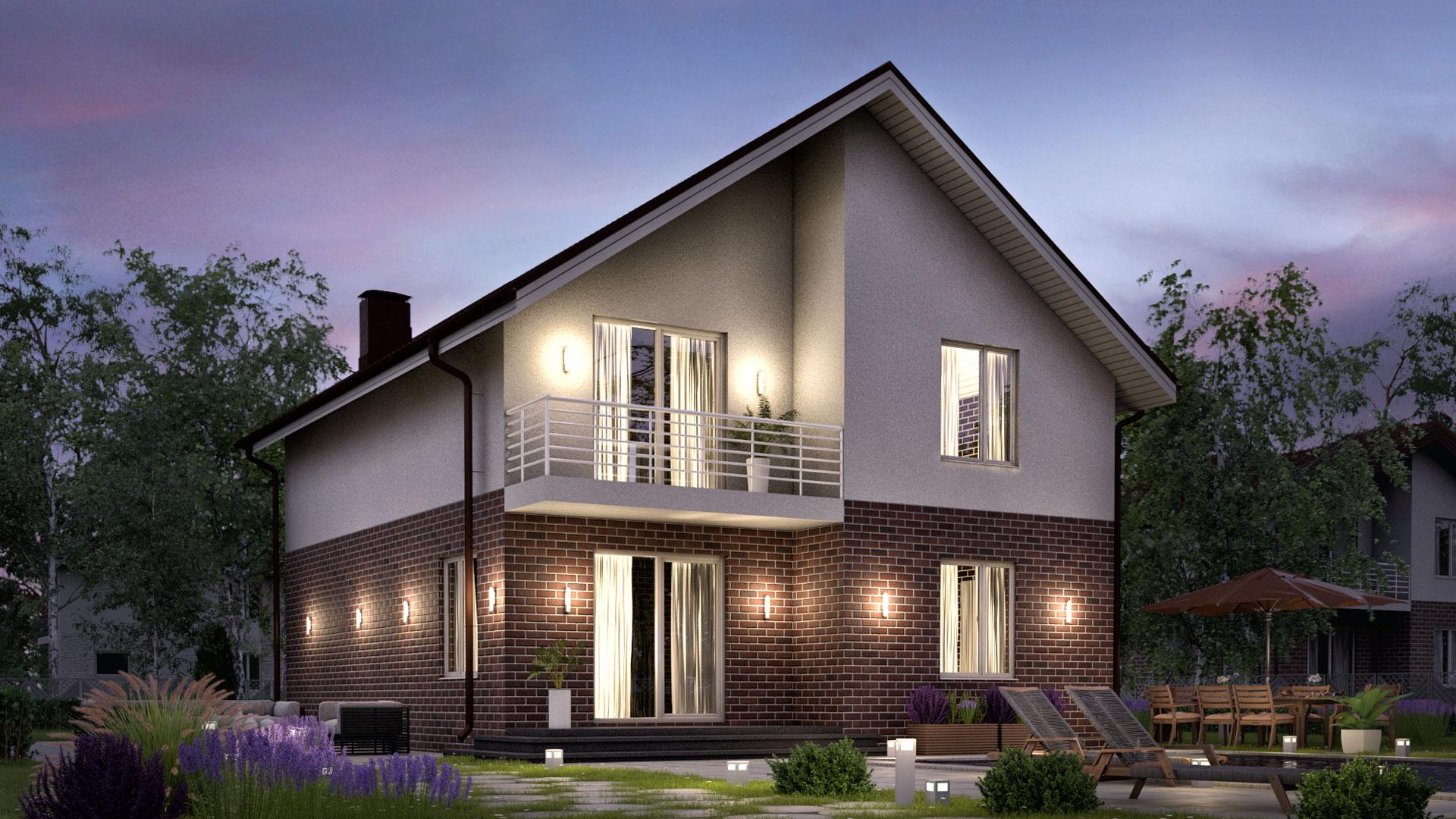 Вечернее фото двухэтажного дома БЭНПАН, проект БП-161, двухцветная отделка.