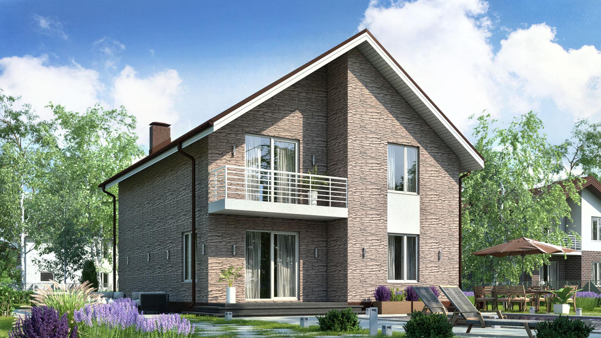 Передний фасад двухэтажного дома БЭНПАН, проект БП-161, отделка под дикий камень.