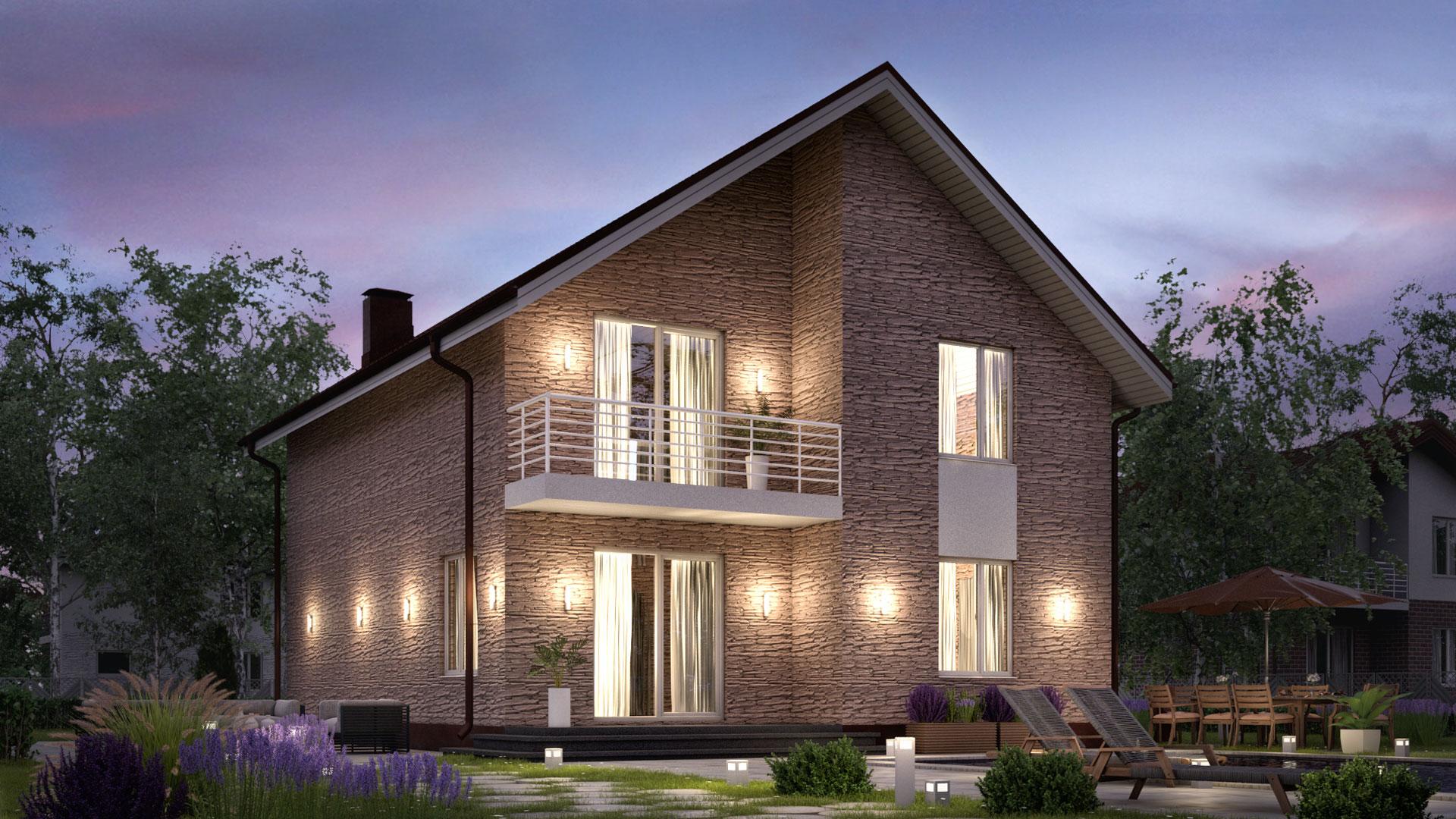 Вечернее фото двухэтажного дома БЭНПАН, проект БП-161, отделка под дикий камень.