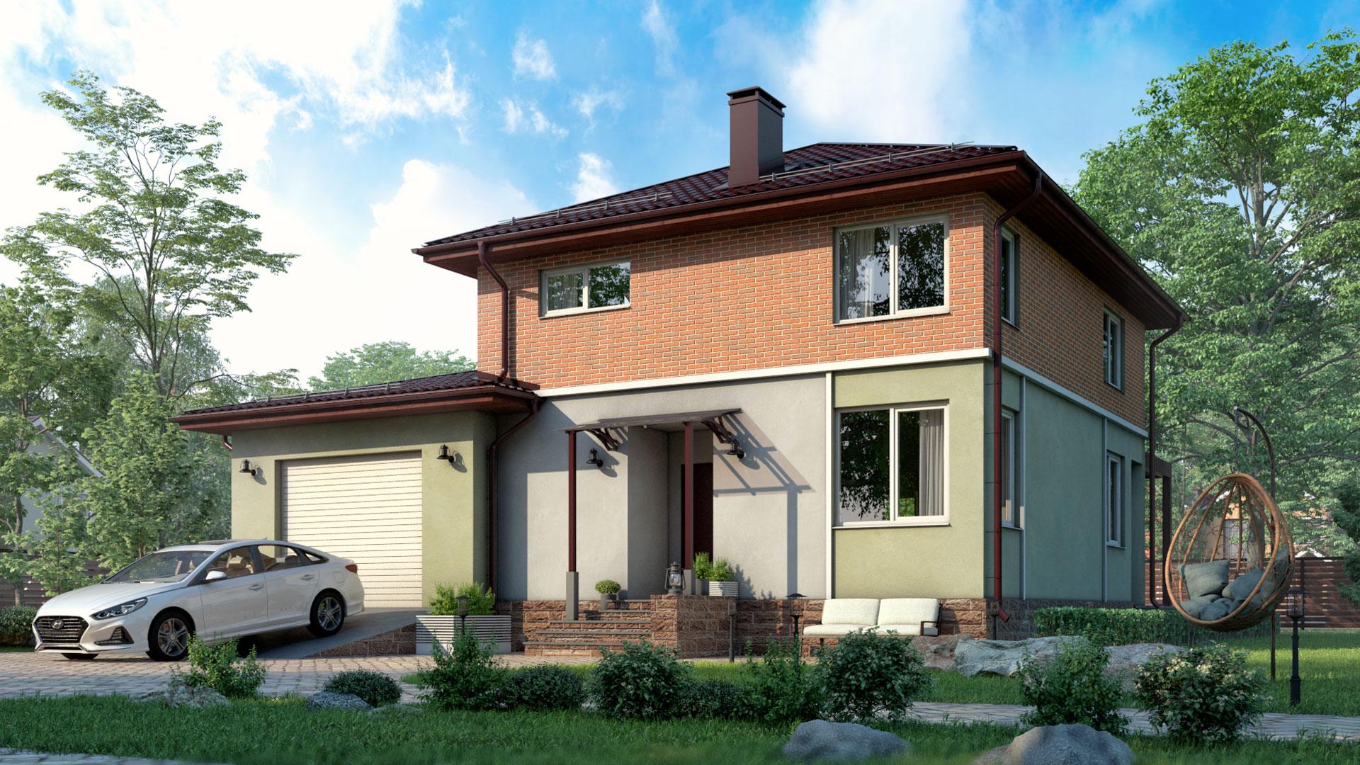 Передний фасад дома 10 на 12 метров двухэтажного площадью 164,60 м2. Проект БП-185.