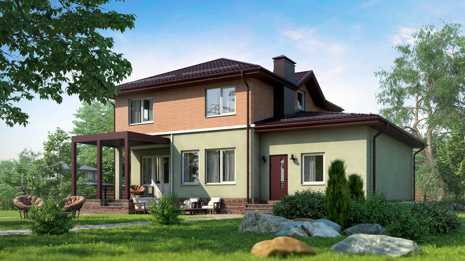 Задний фасад дома БП-185 164,60 м2, 10 на 12 метров двухэтажного.