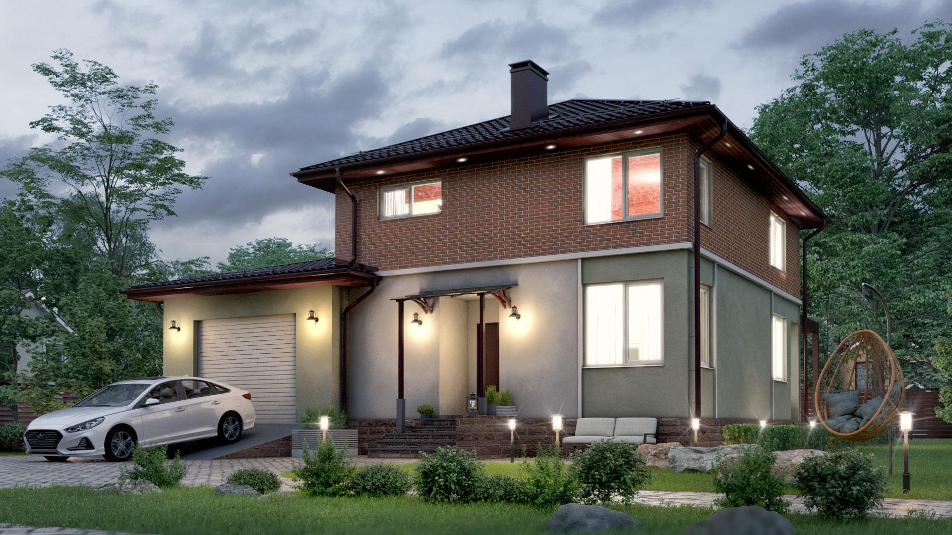 Вечернее фото загородного дома БП-185 10 на 12 метров двухэтажного.