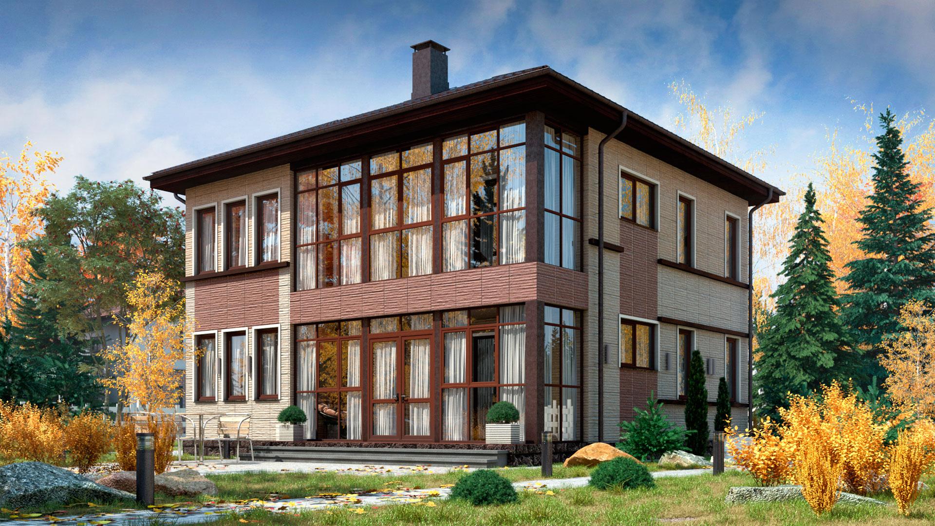 Задний фасад двухэтажного дома с верандой, 153,80 м2. Проект БП-186/2.