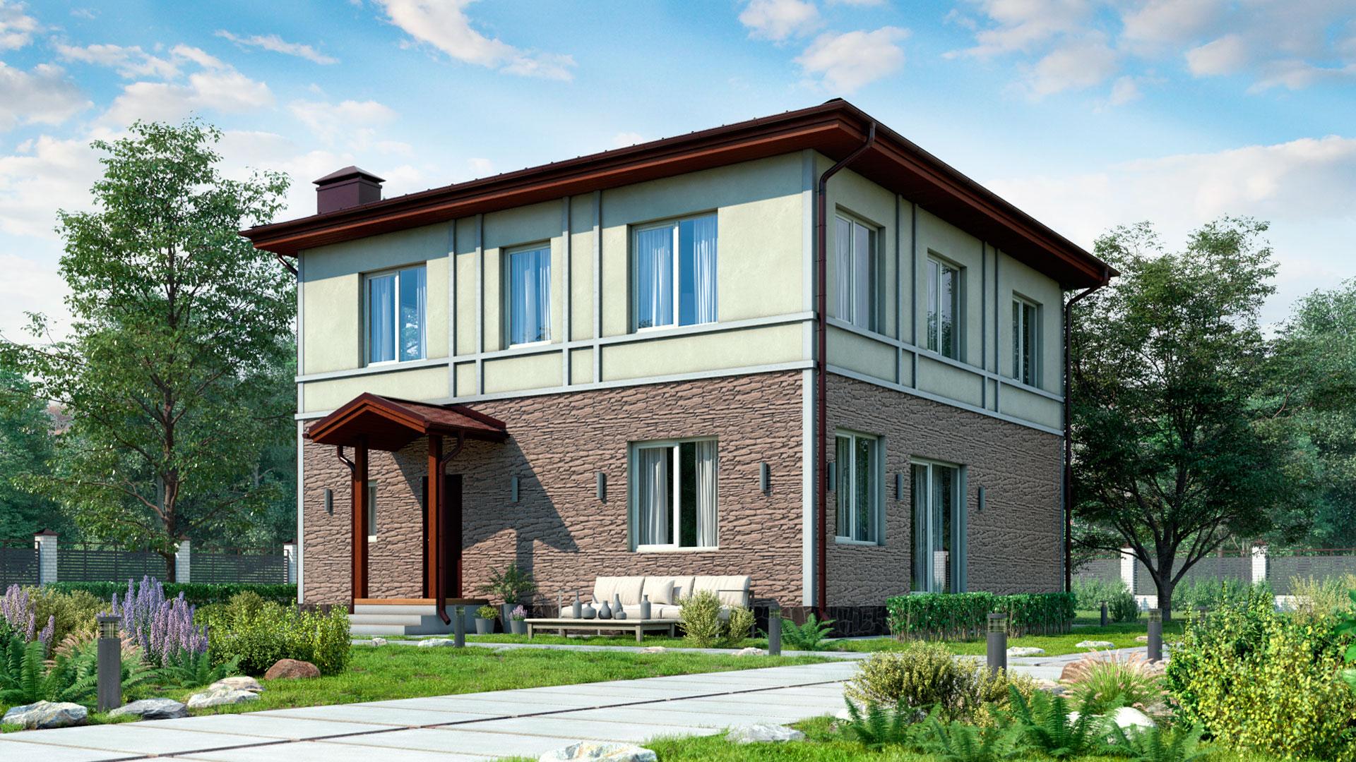 Передний фасад дома 10х10 м. двухэтажного 183,40 м2 проект БП-186.
