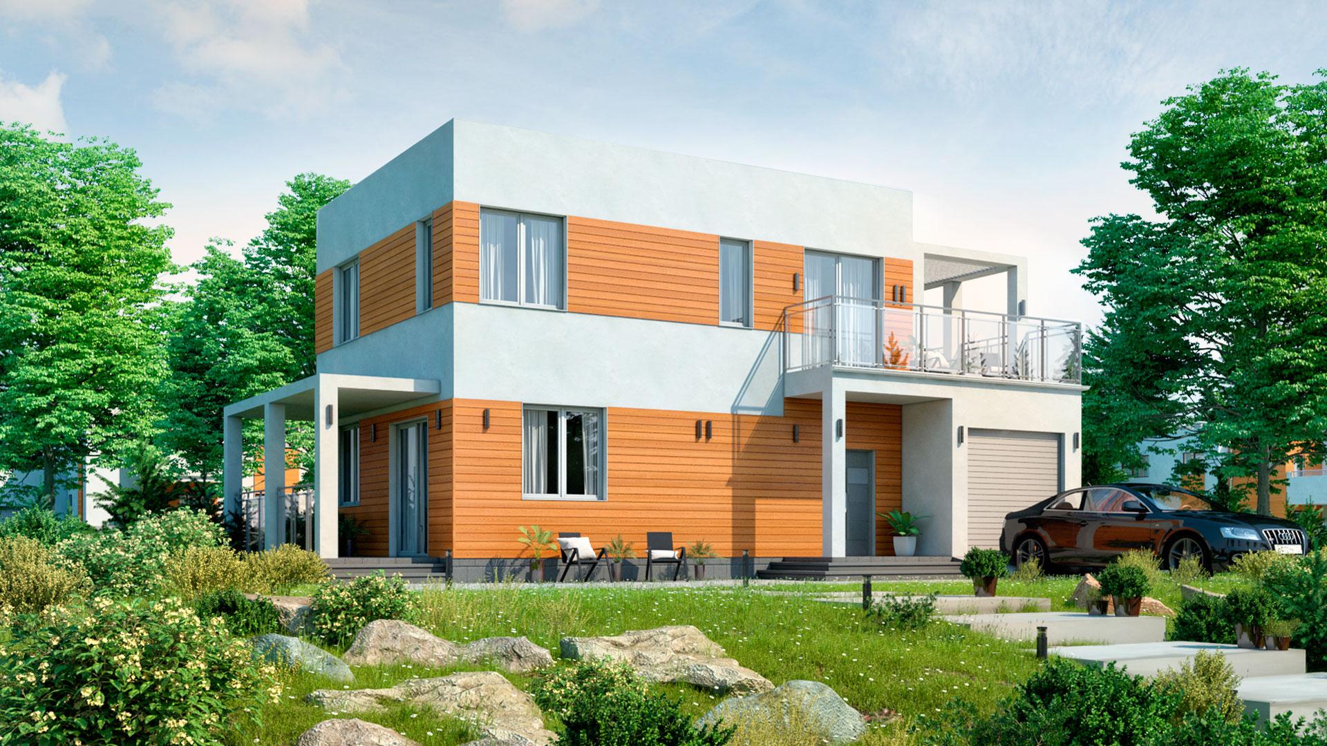 Передний фасад двухэтажного дома с эксплуатируемой крышей, проект БЭНПАН БП-190.
