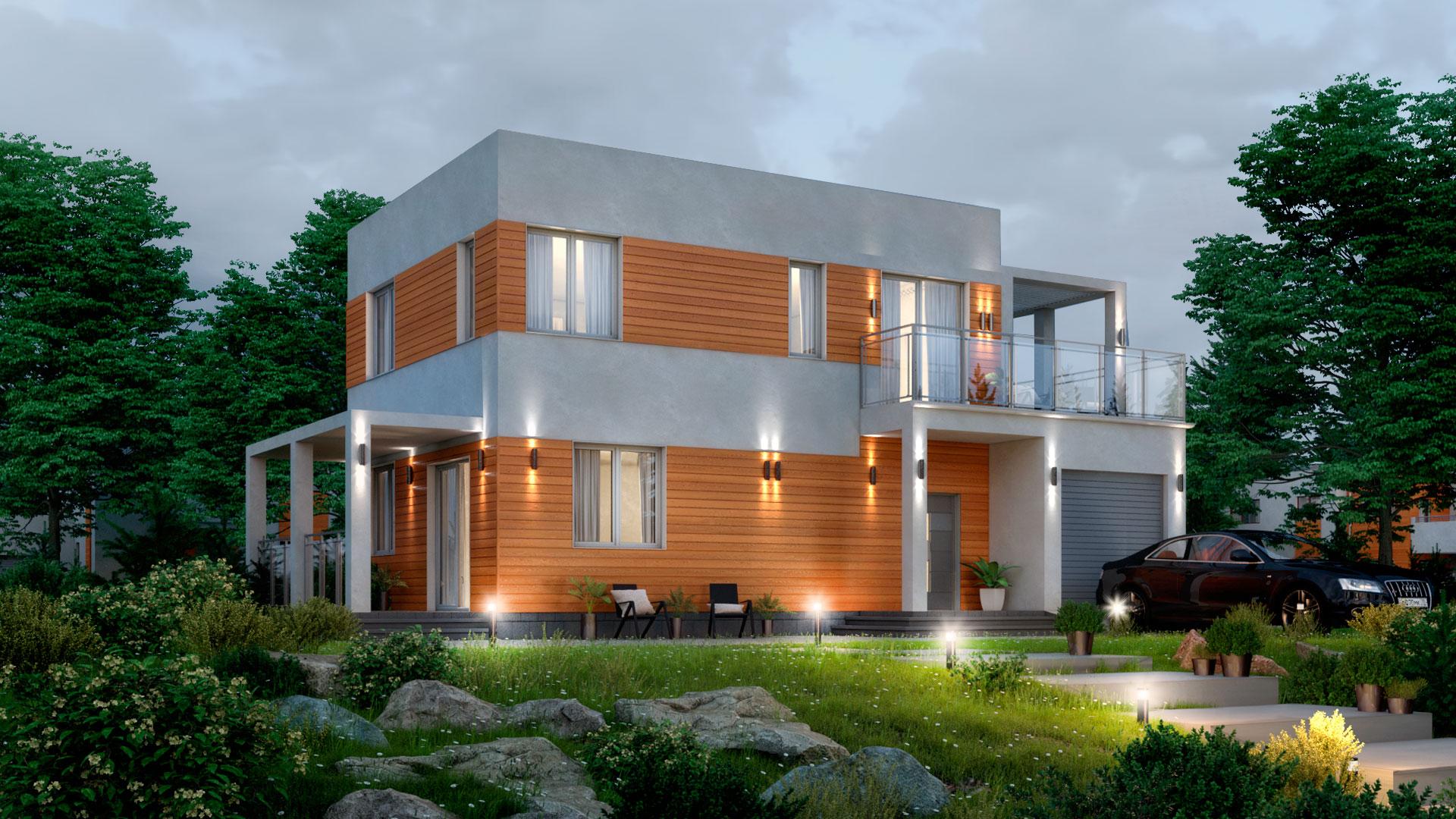 Вечернее фото двухэтажного дома с эксплуатируемой крышей, проект БЭНПАН БП-190.