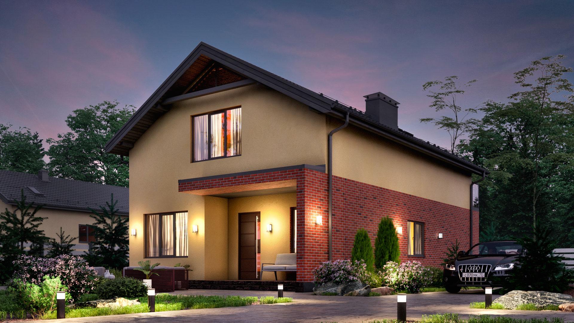 Вечернее фото двухэтажного дома БЭНПАН. Проект БП-202, 176,80 м2.