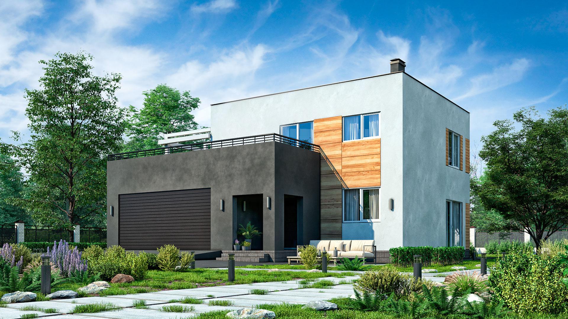 Передний фасад двухэтажного дома с эксплуатируемой крышей и гаражом, проект БЭНПАН БП-222.