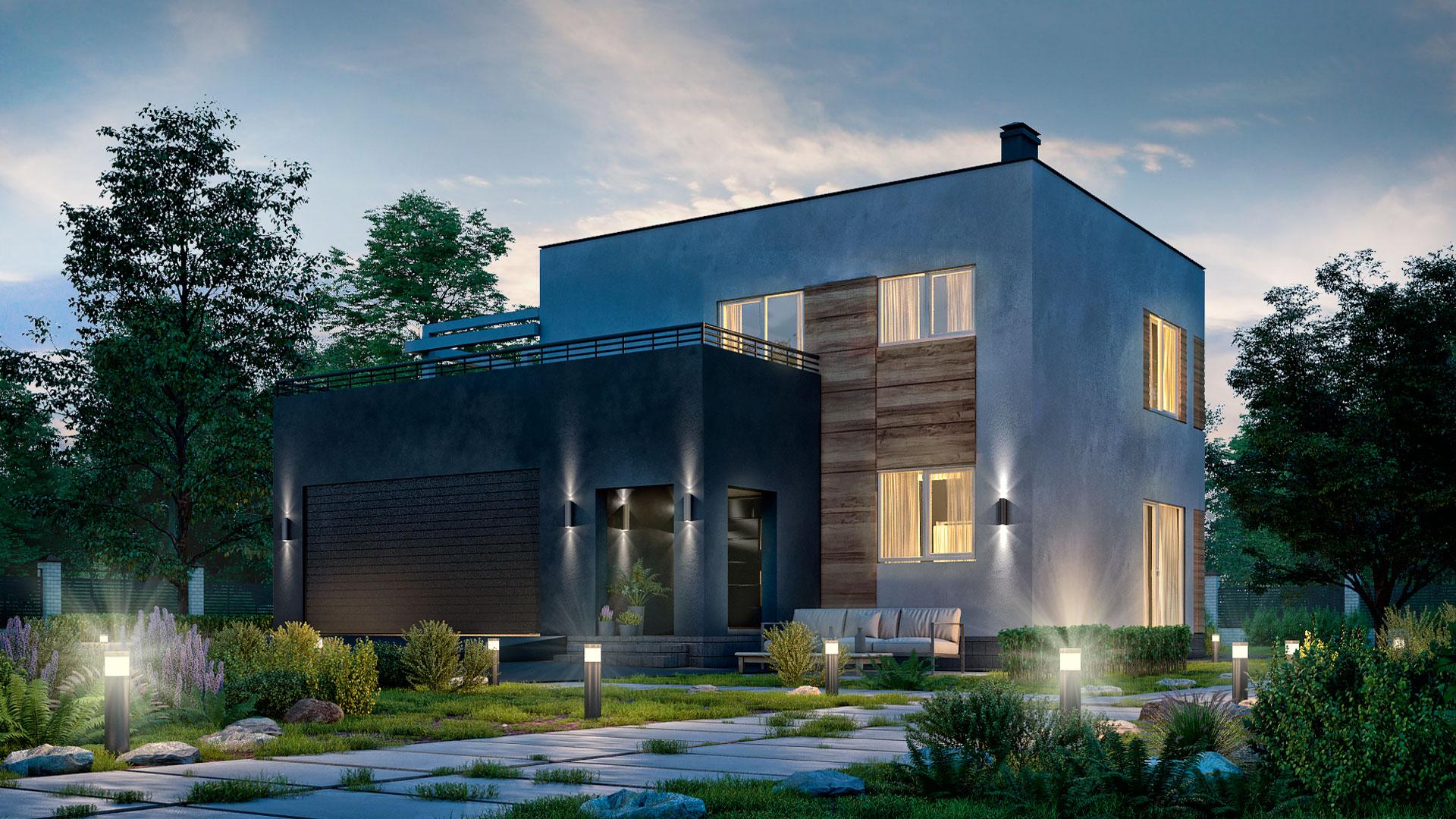 Вечернее двухэтажного дома с эксплуатируемой крышей и гаражом, проект БЭНПАН БП-222.