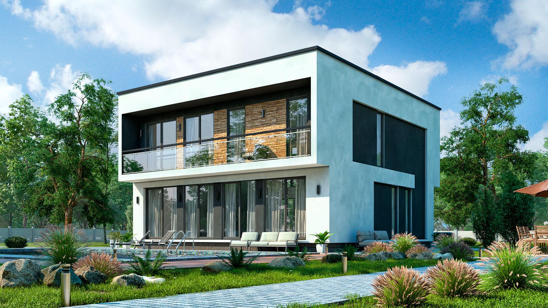 Передний фасад двухэтажного дома со вторым светом, проект БЭНПАН БП-224.
