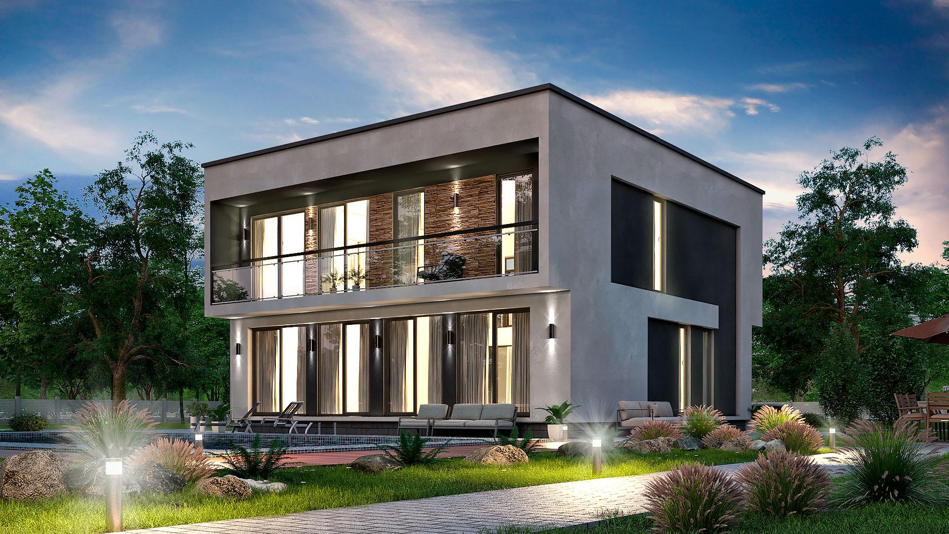 Вечернее фото двухэтажного дома со вторым светом, проект БЭНПАН БП-224.