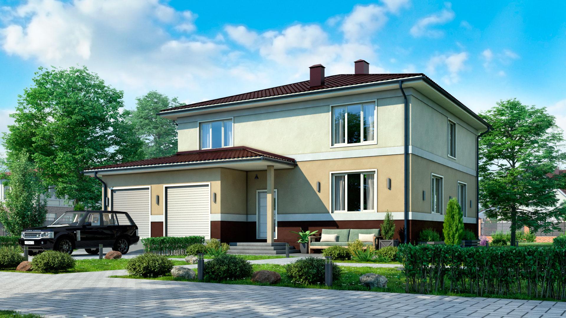 Передний фасад двухэтажного дома с 3 спальнями и гаражом, 264 м2. Проект БП-271.