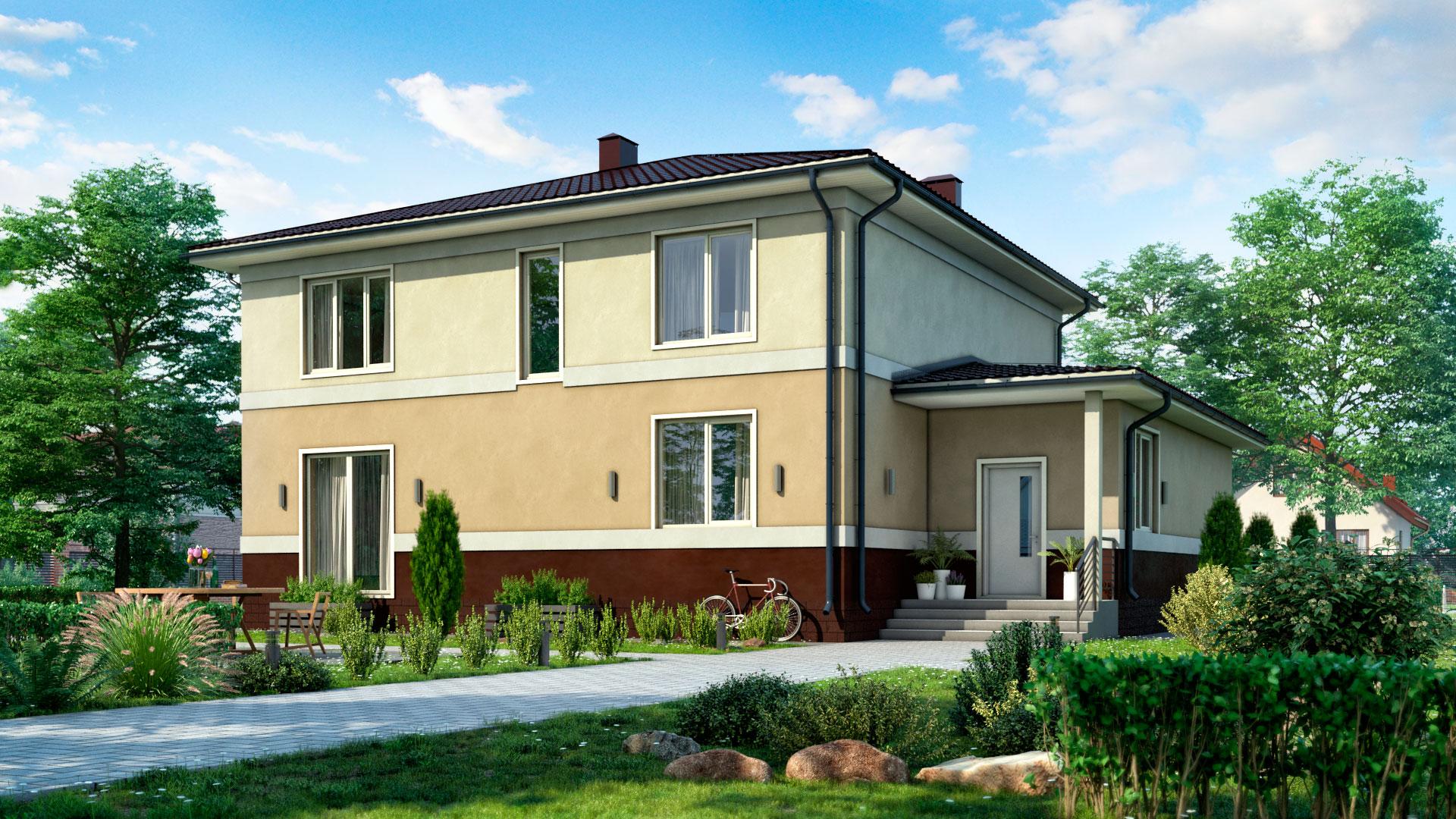 Задний фасад двухэтажного дома с 3 спальнями и гаражом, 264 м2. Проект БП-271.