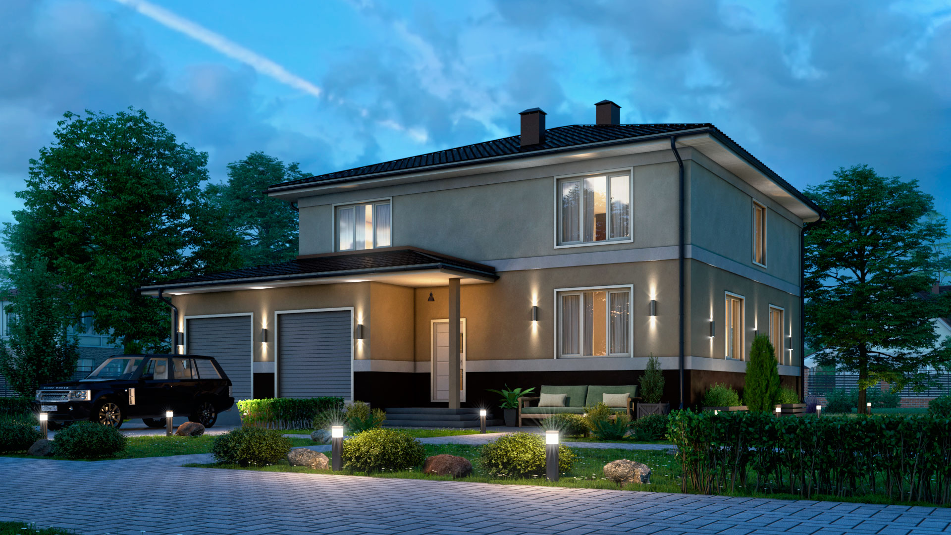 Вечернее фото двухэтажного дома. Проект БП-271.