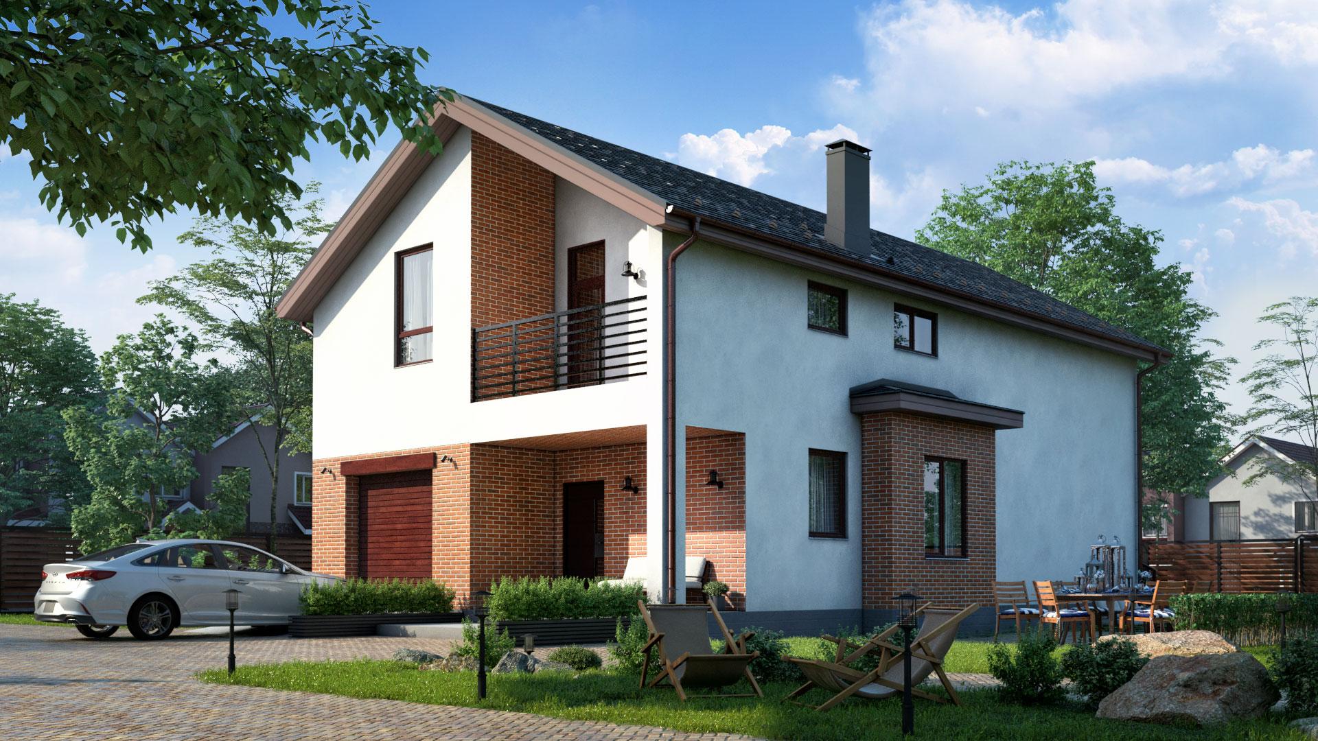 Передний фасад двухэтажного дома с террасой, 211,30 м2, проект БП-272/1.