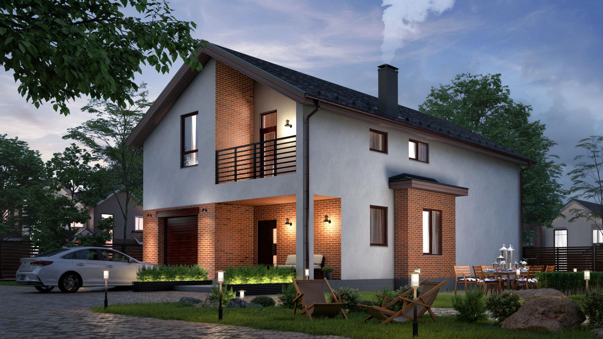 Вечернее фото двухэтажного дома с террасой, 211,30 м2, проект БП-272/1.