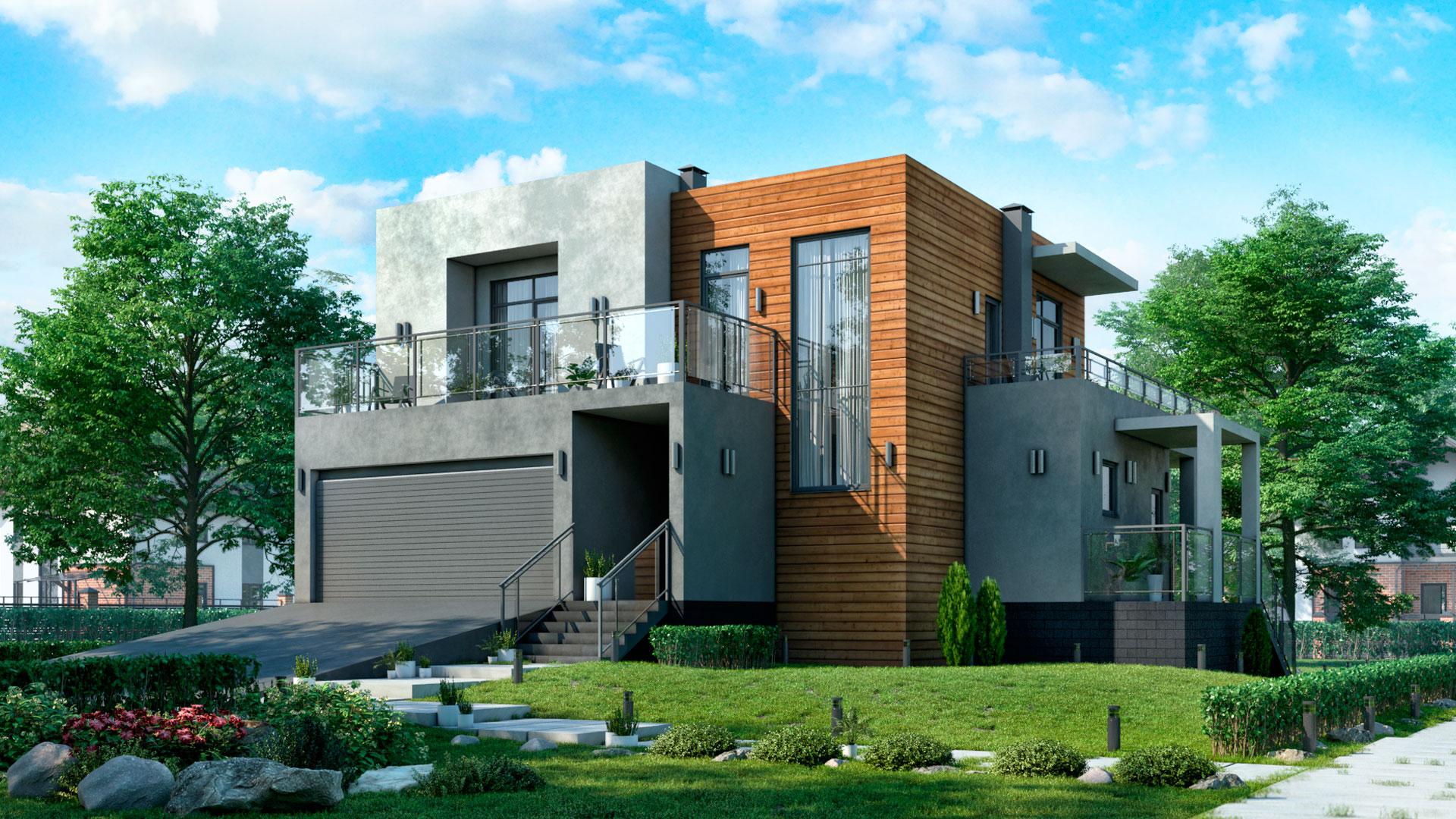 Передний фасад двухэтажного дома с гаражом на две машины 186,50 м2. Проект БЭНПАН-274.