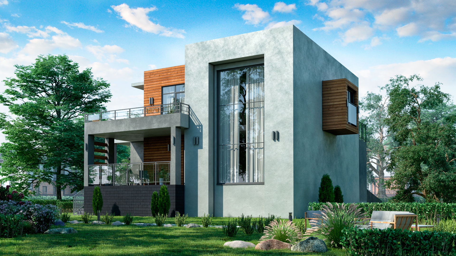 Задний фасад двухэтажного дома с гаражом на две машины 186,50 м2. Проект БЭНПАН-274.