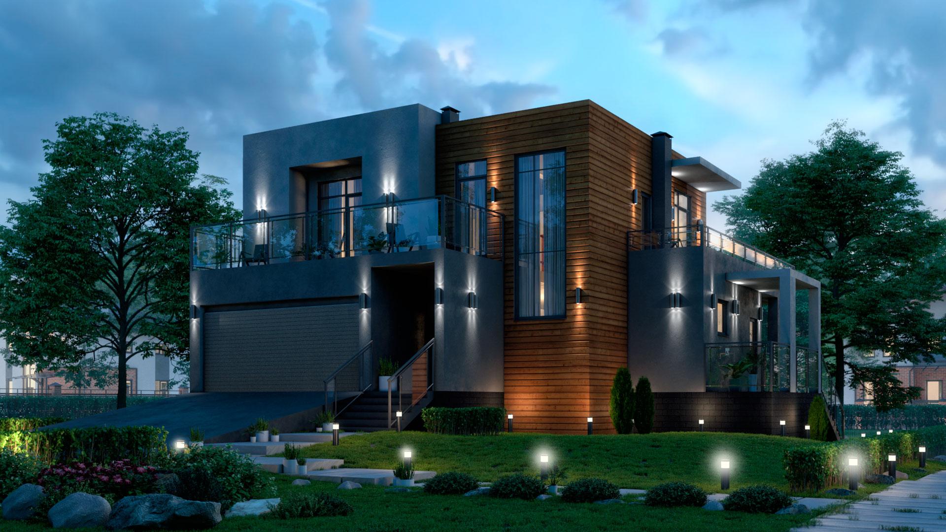 Вечерняя фотография двухэтажного дома с гаражом на две машины и плоской эксплуатируемой крышей, 186,50 м2. Проект БЭНПАН-274.