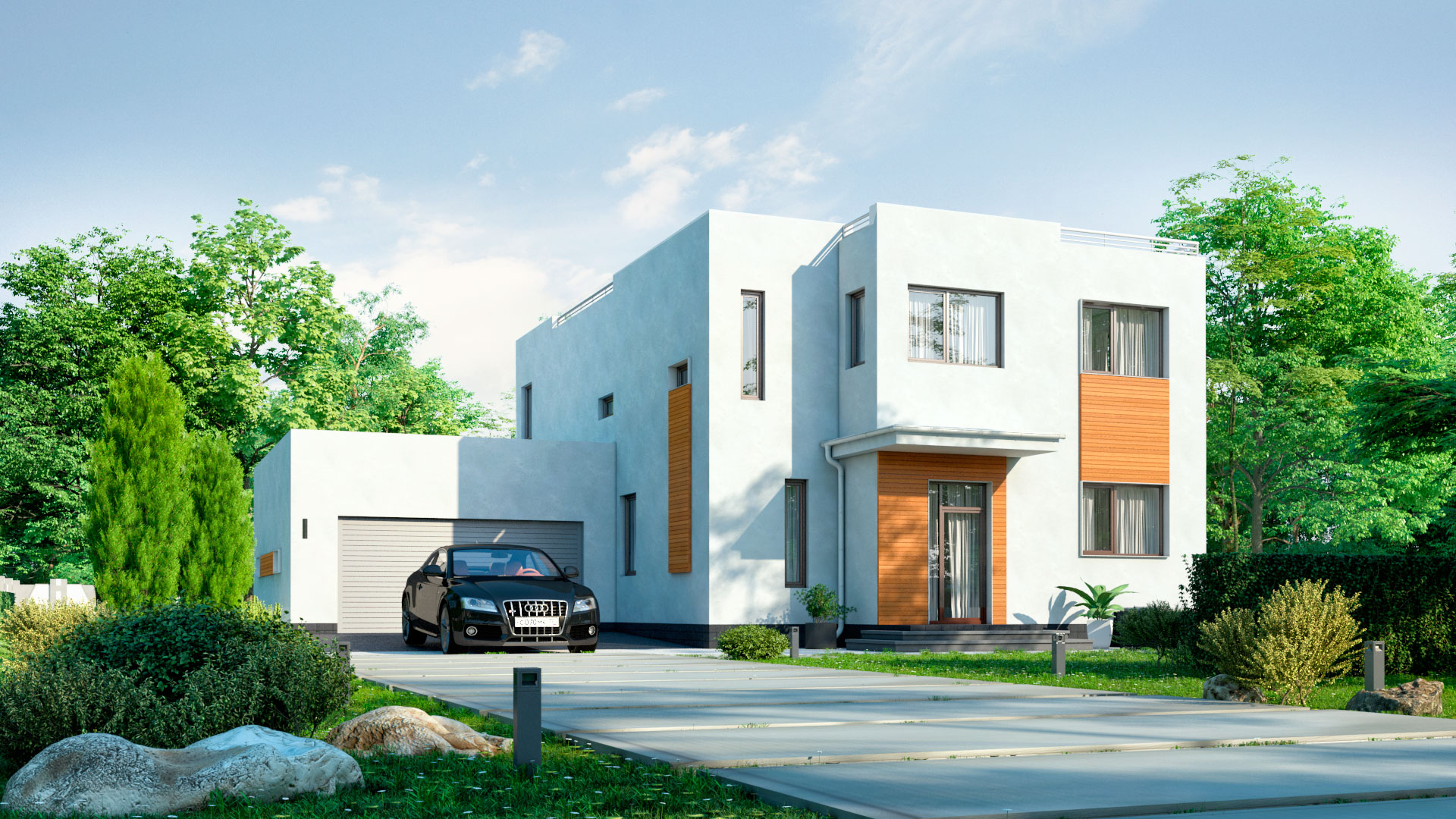 Передний фасад двухэтажного дома 15 на 15, проект БЭНПАН БП-289.