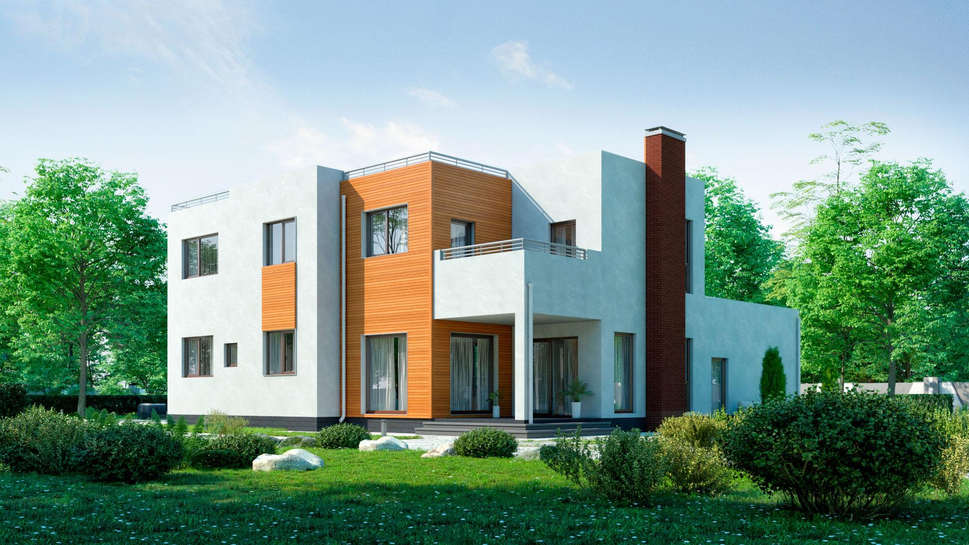 Задний фасад двухэтажного дома 15 на 15, проект БЭНПАН БП-289.