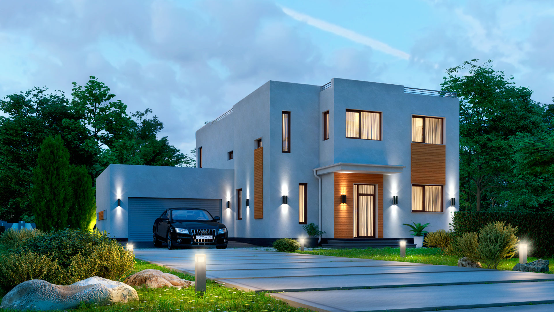 Вечернее фото двухэтажного дома 15 на 15, проект БЭНПАН БП-289.
