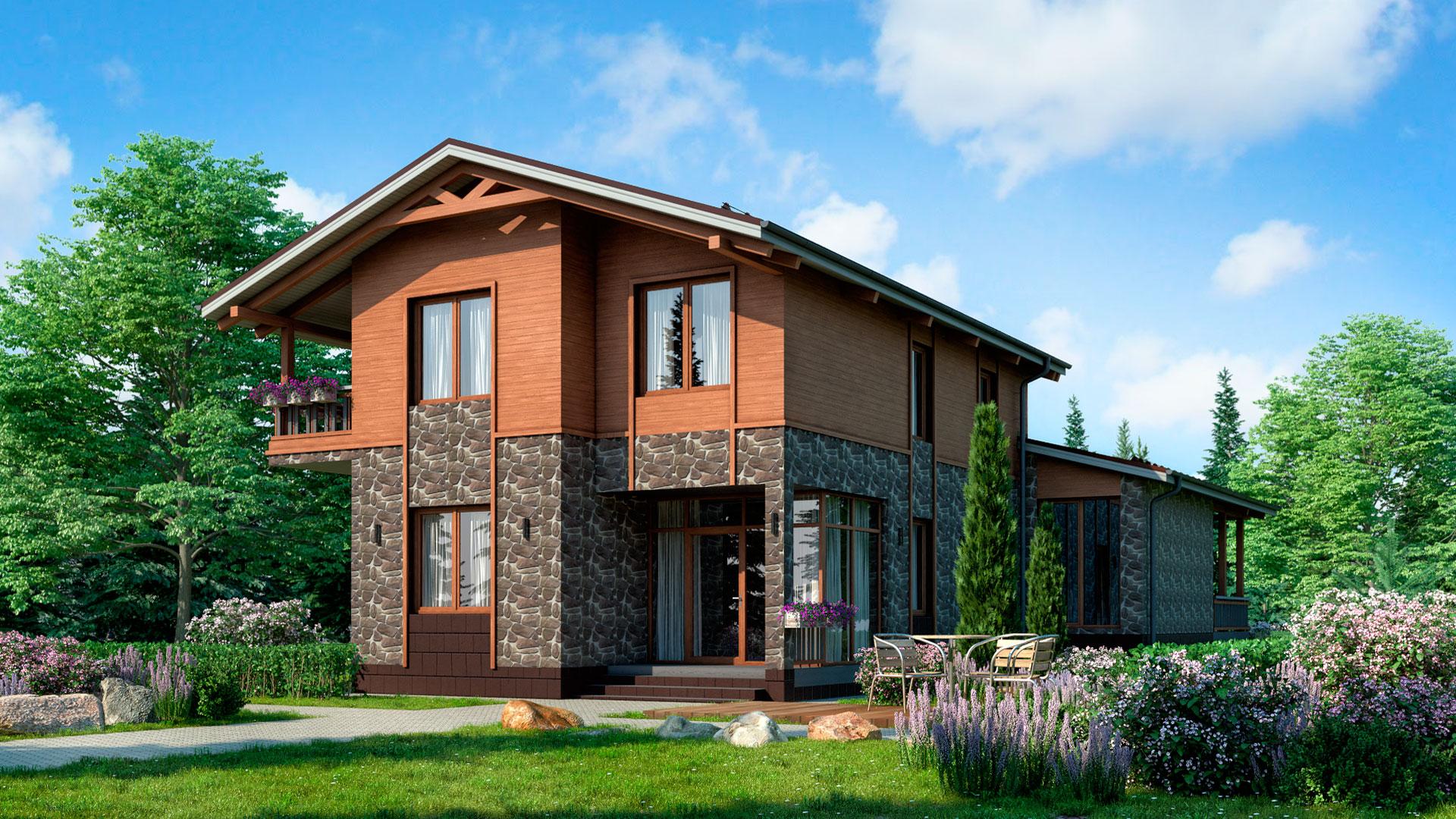 Передний фасад загородного дома 18 на 11 двухэтажного, проект БЭНПАН БП-294.