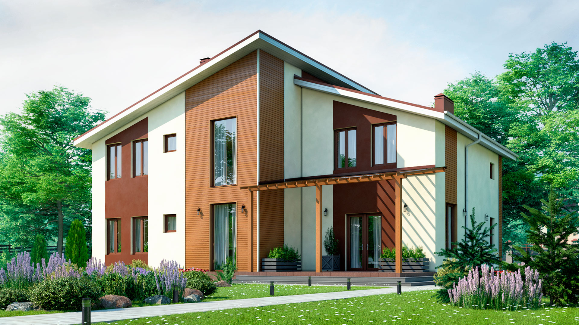 Передний фасад двухэтажного загородного коттеджа, проект БЭНПАН БП-296/4.
