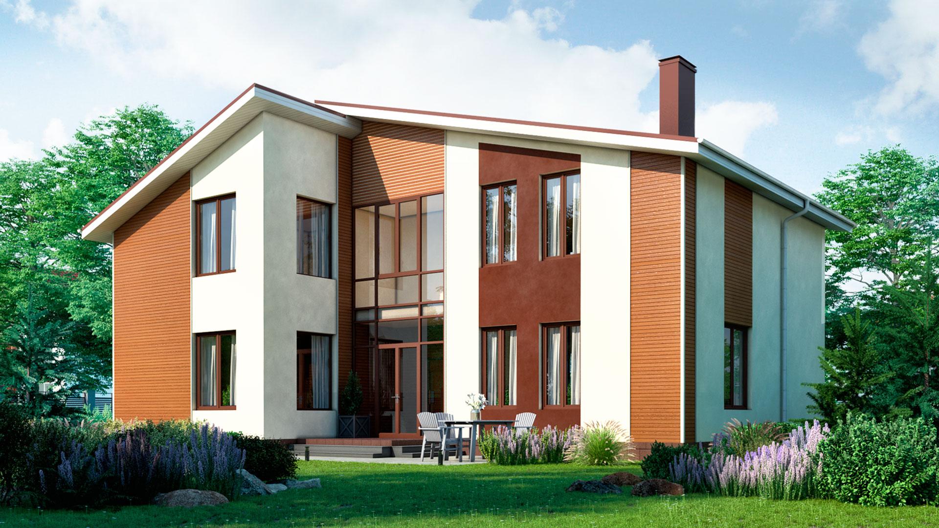 Задний фасад двухэтажного загородного коттеджа, проект БЭНПАН БП-296/4.
