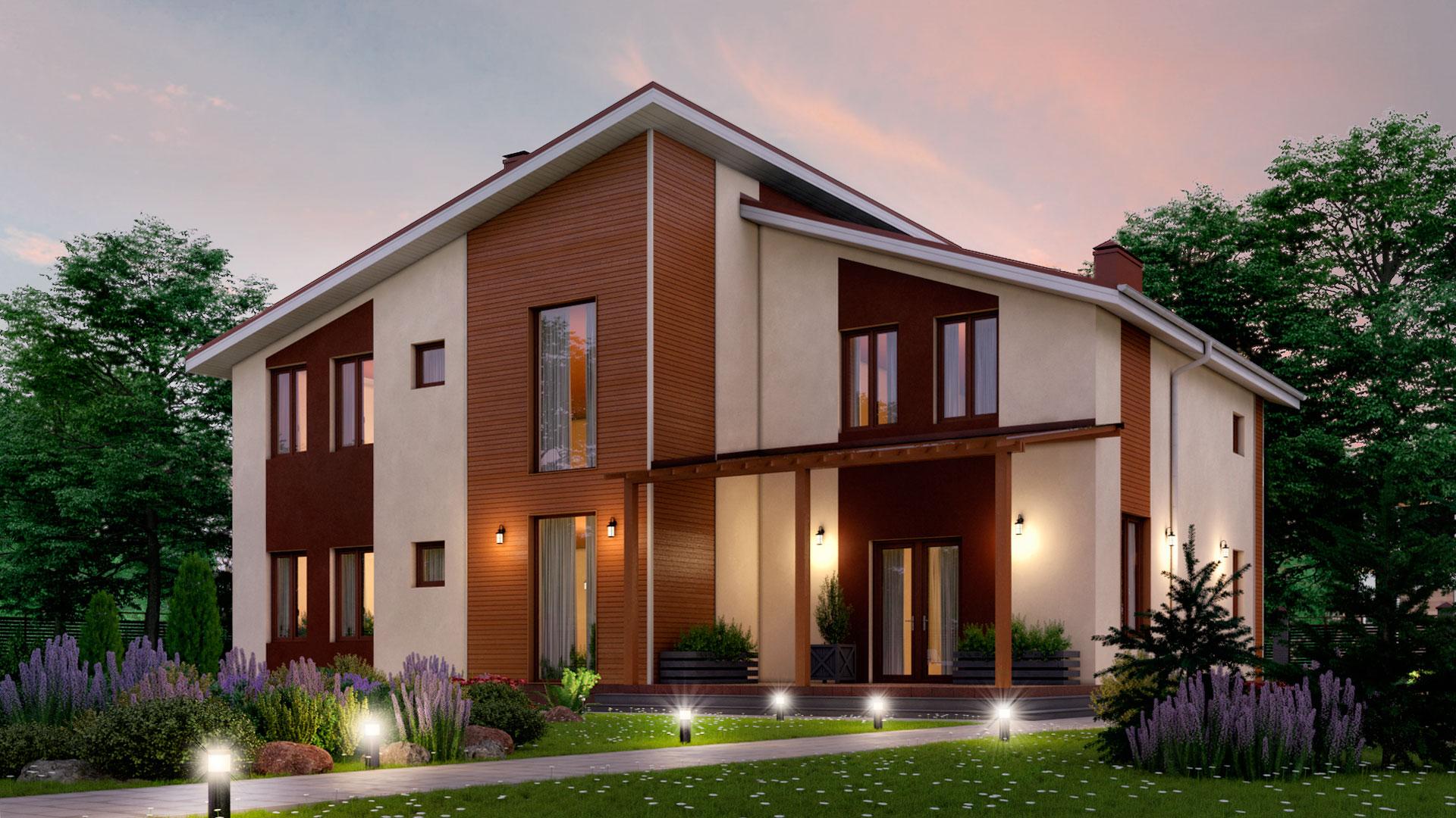 Вечернее фото двухэтажного загородного коттеджа, проект БЭНПАН БП-296/4.
