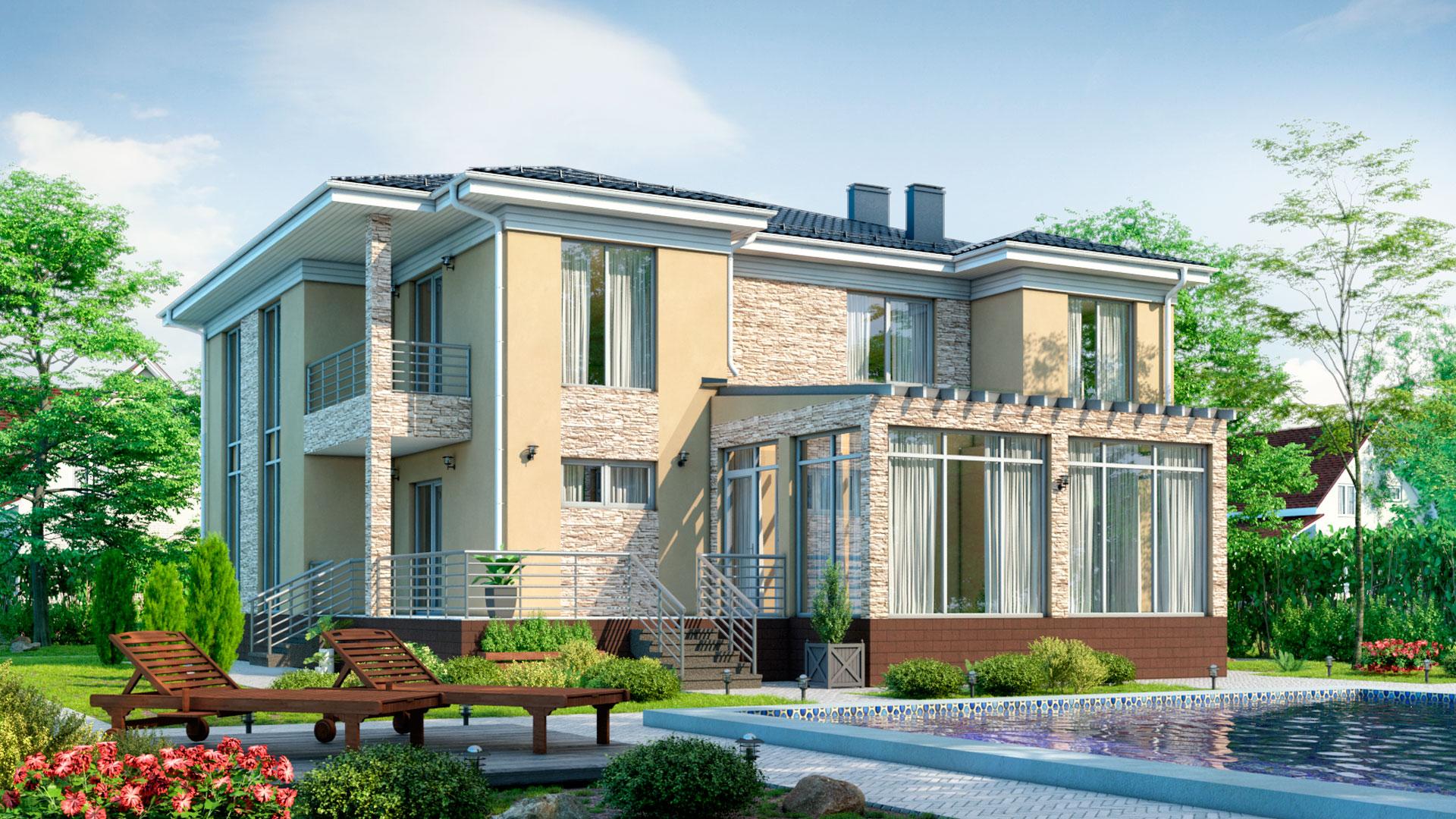 Задний фасад загородного дома с большими окнами, проект БЭНПАН БП-338.